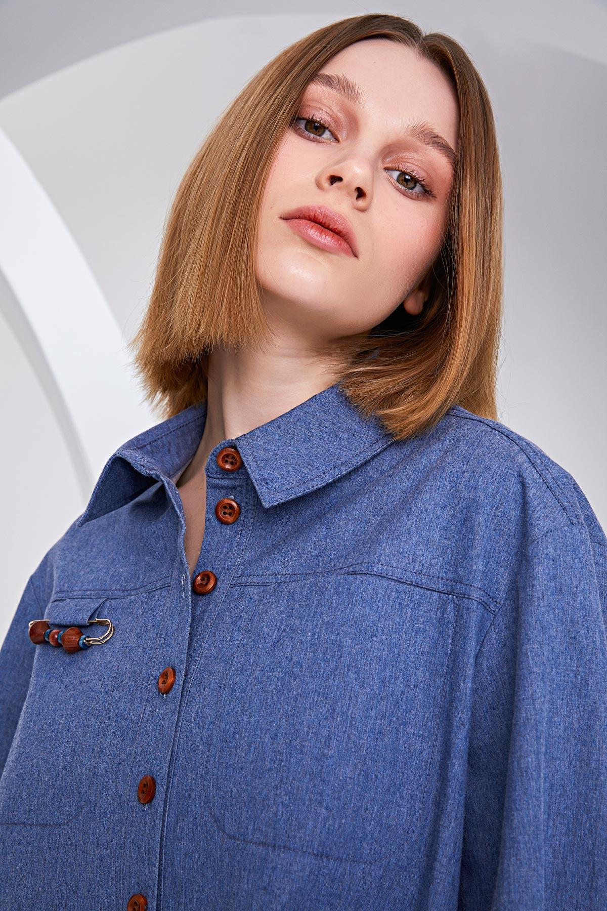 Oversize form ceket Mavi