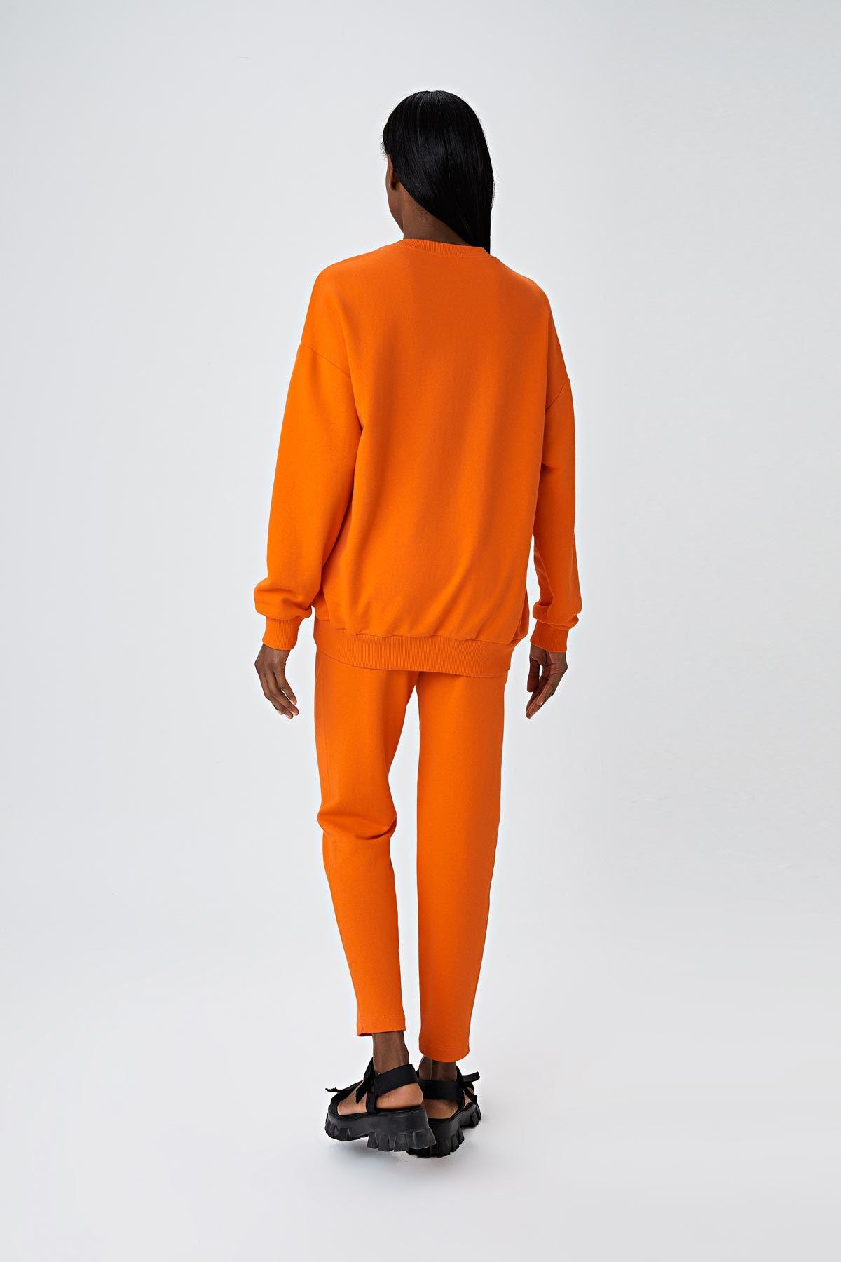 Slogan baskılı sweatshirt Oranj