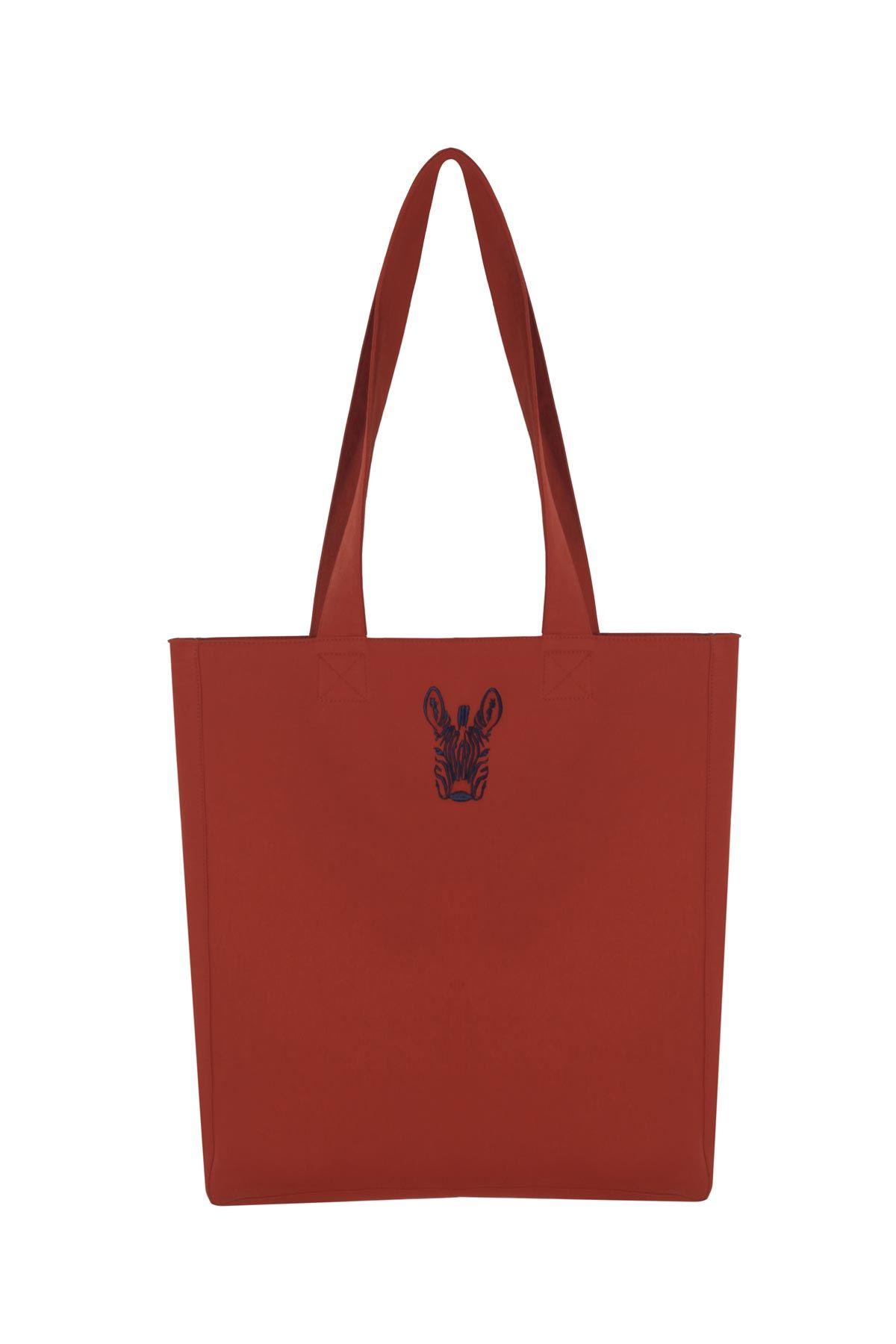 Zebra nakışlı çift taraflı çanta Kiremit