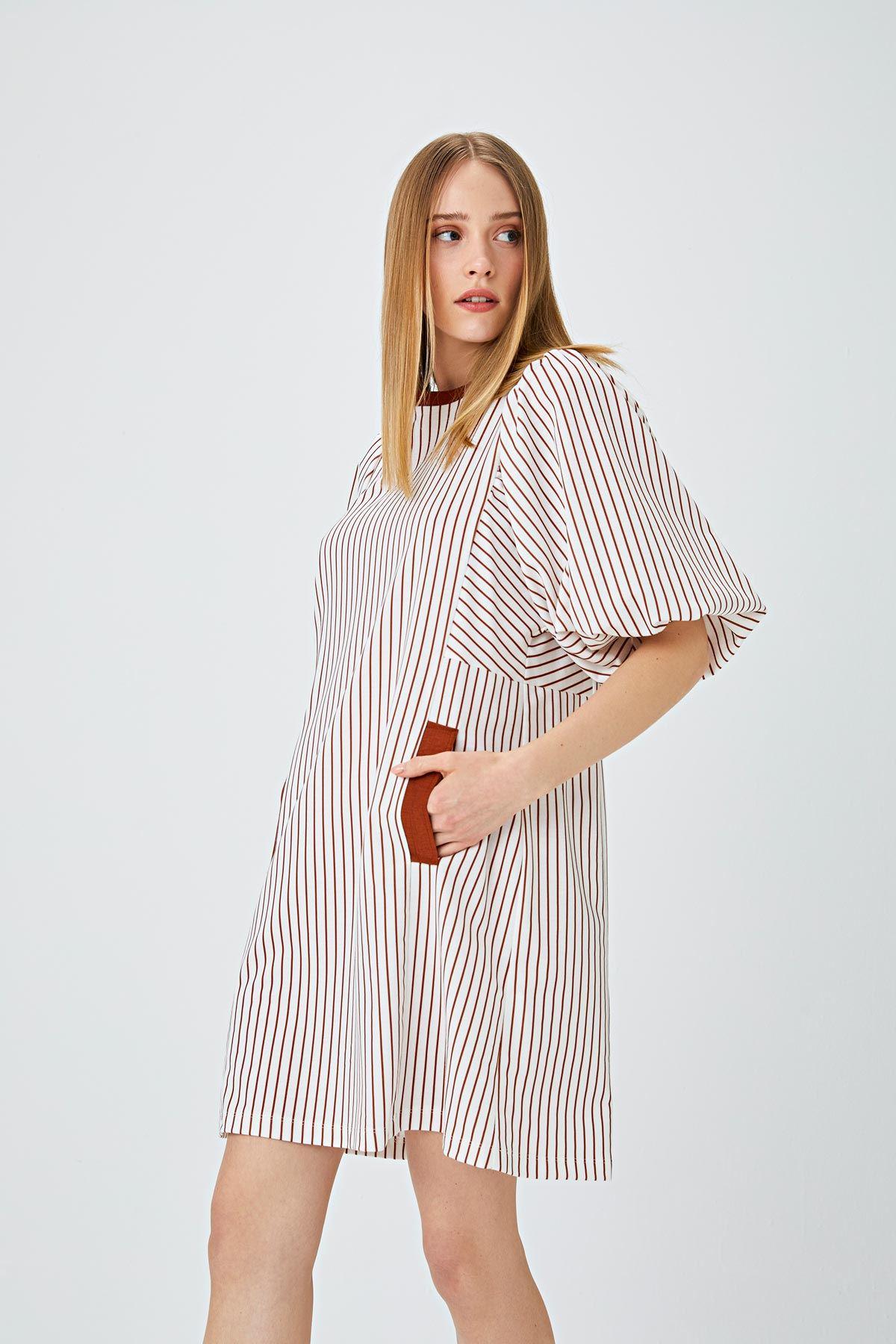 Balon kol çizgili elbise Taba