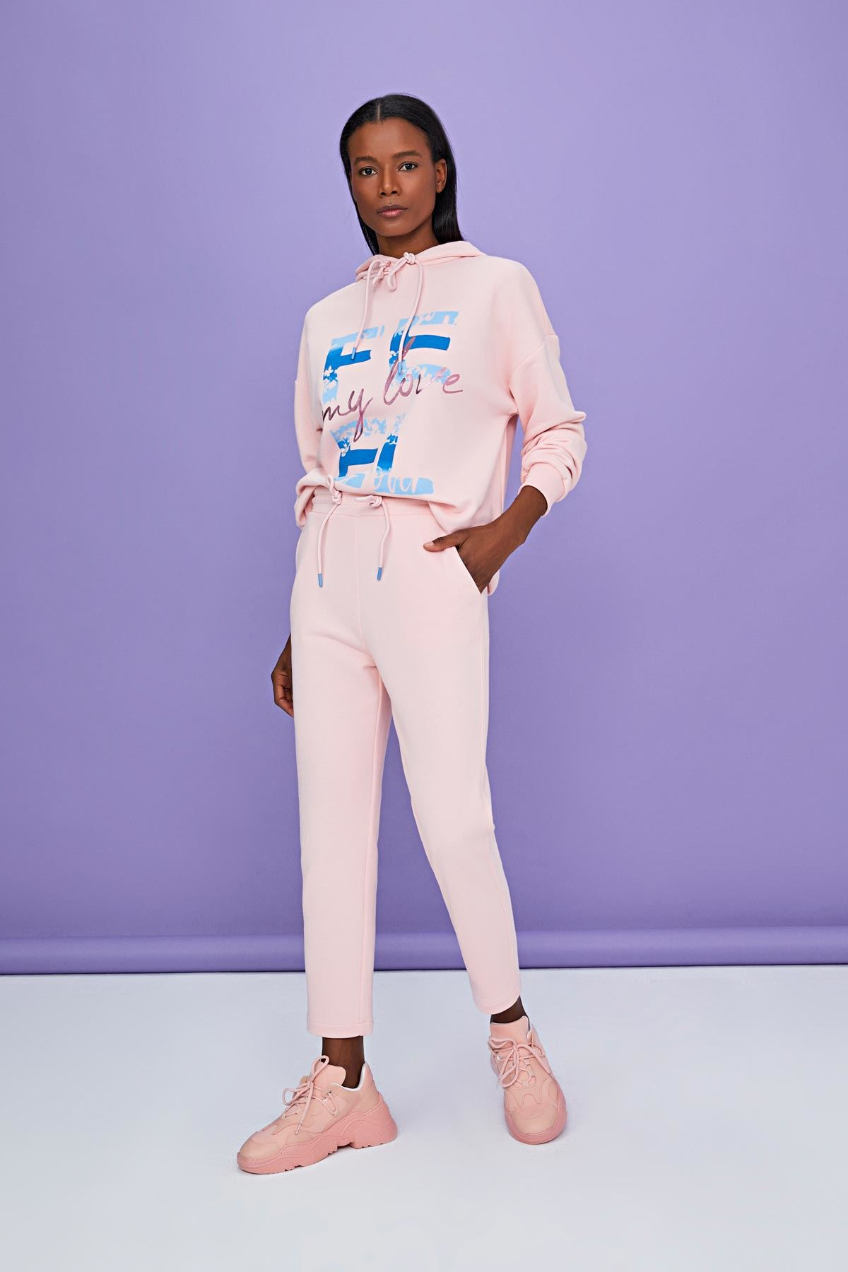 Slogan baskılı swetshirt Pembe