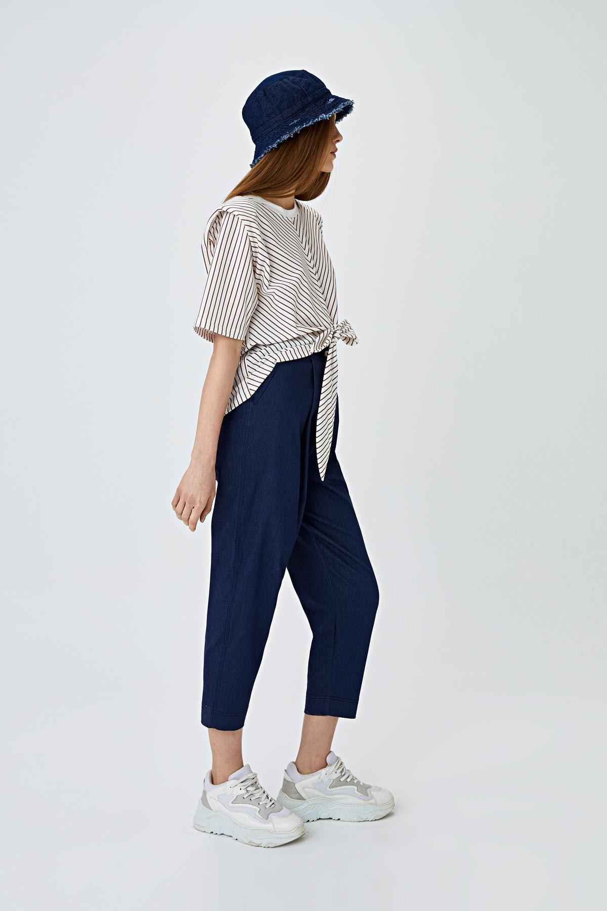 Havuç form denim pantolon Lacivert