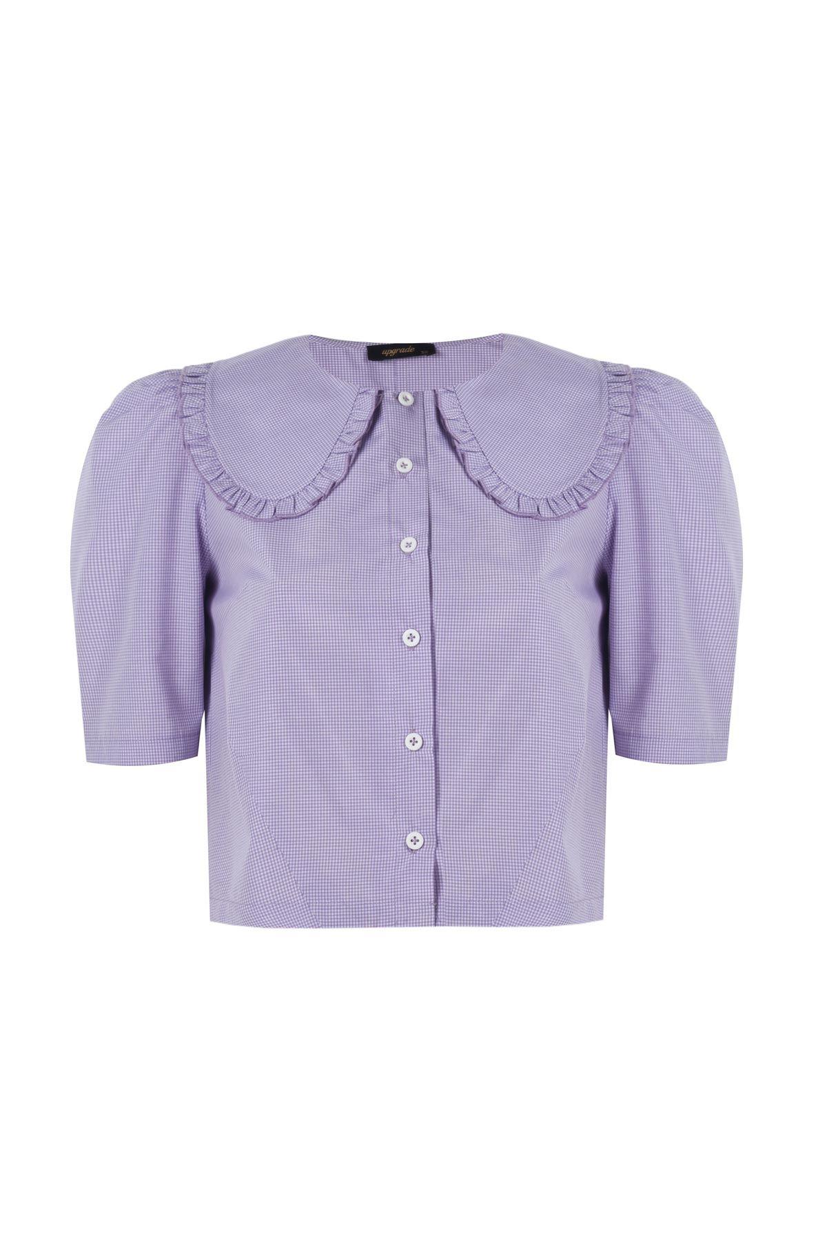 Geniş yakalı crop gömlek Lila