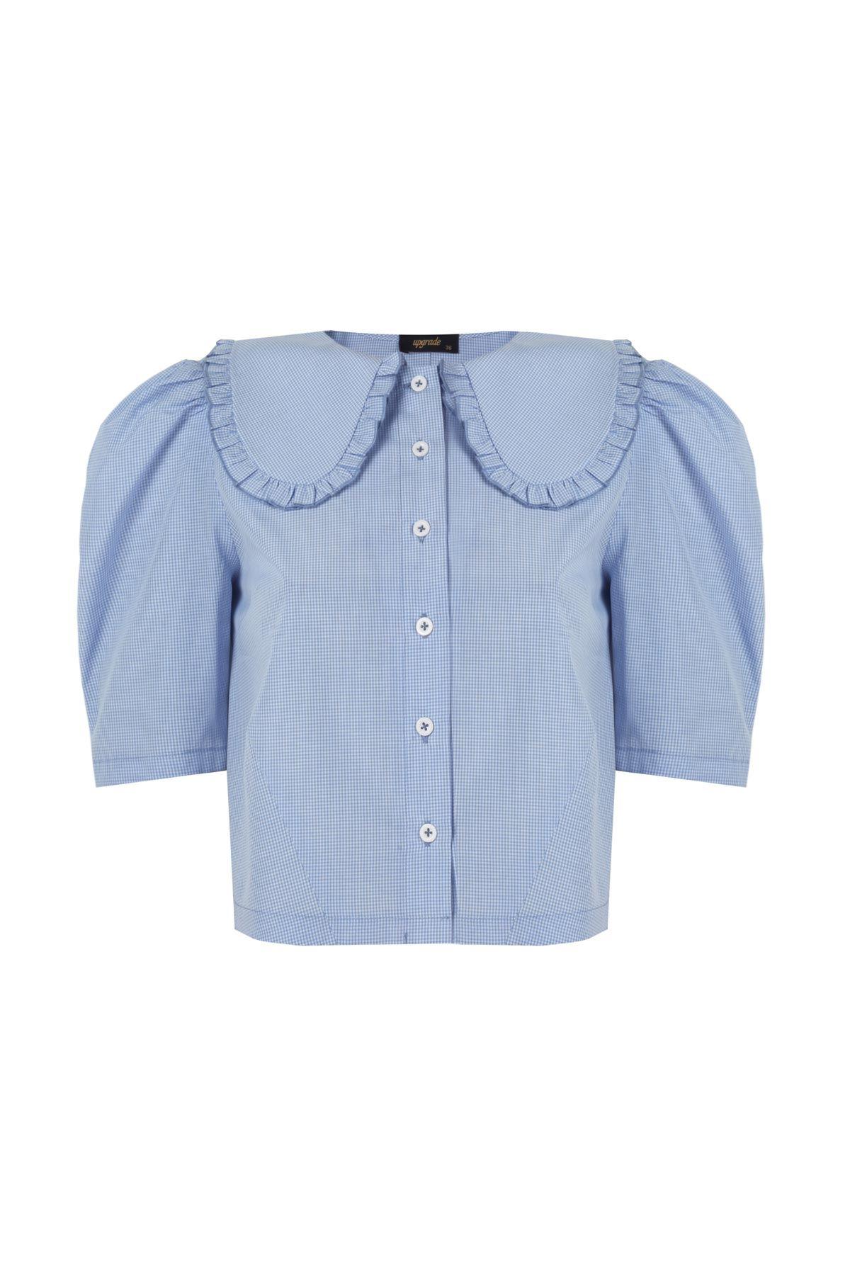 Geniş yakalı crop gömlek Mavi