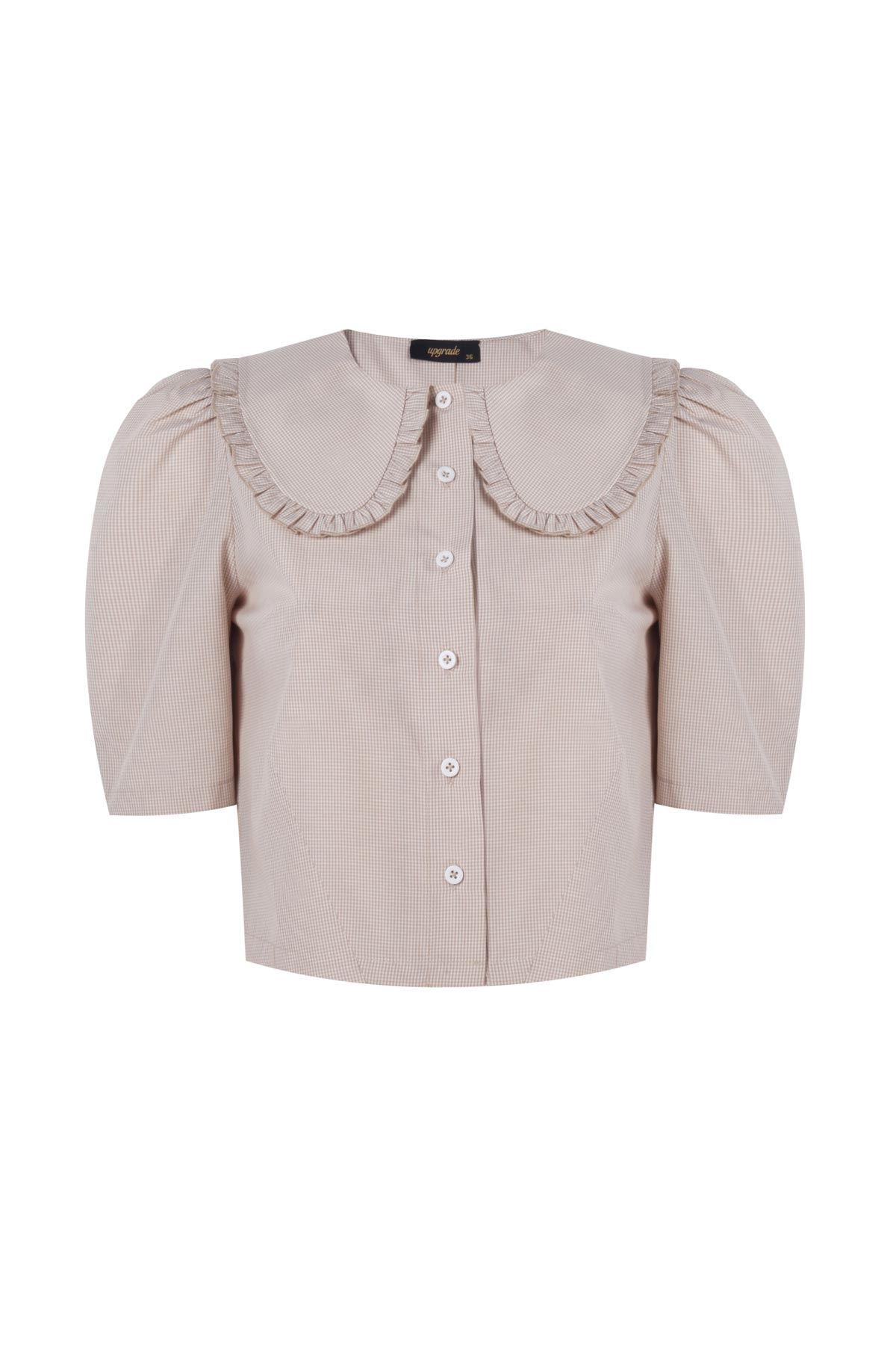 Geniş yakalı crop gömlek Bej