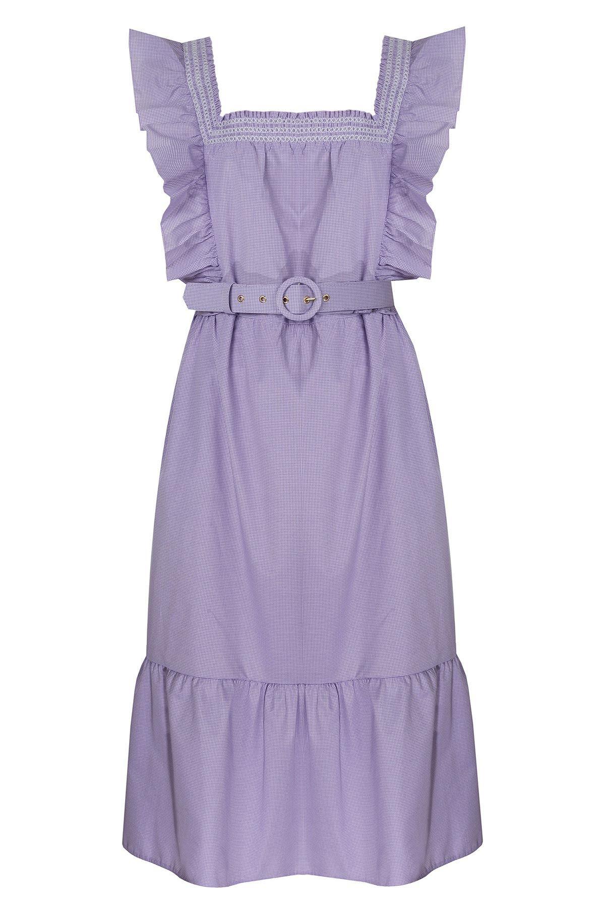 Kare yaka fırfır şeritli elbise Lila