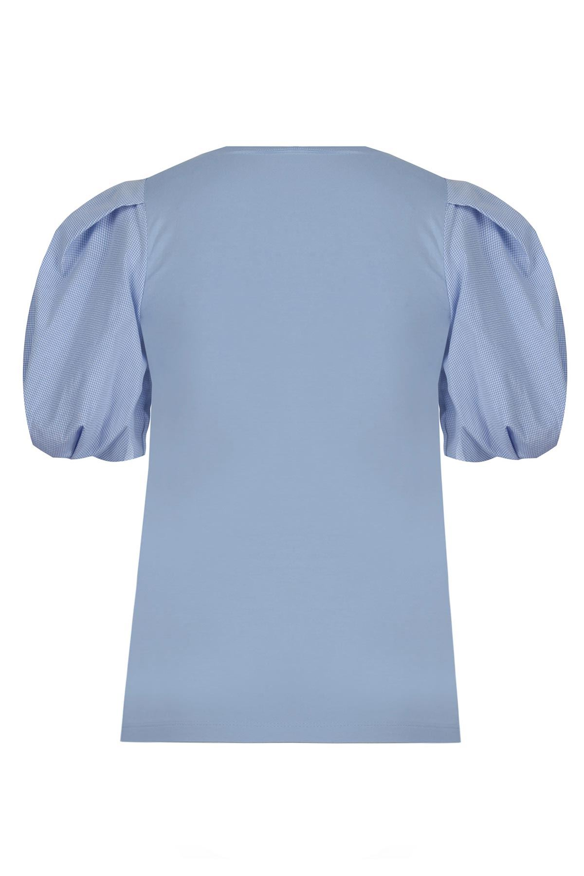 Kumaş mixli balon kol bluz Mavi