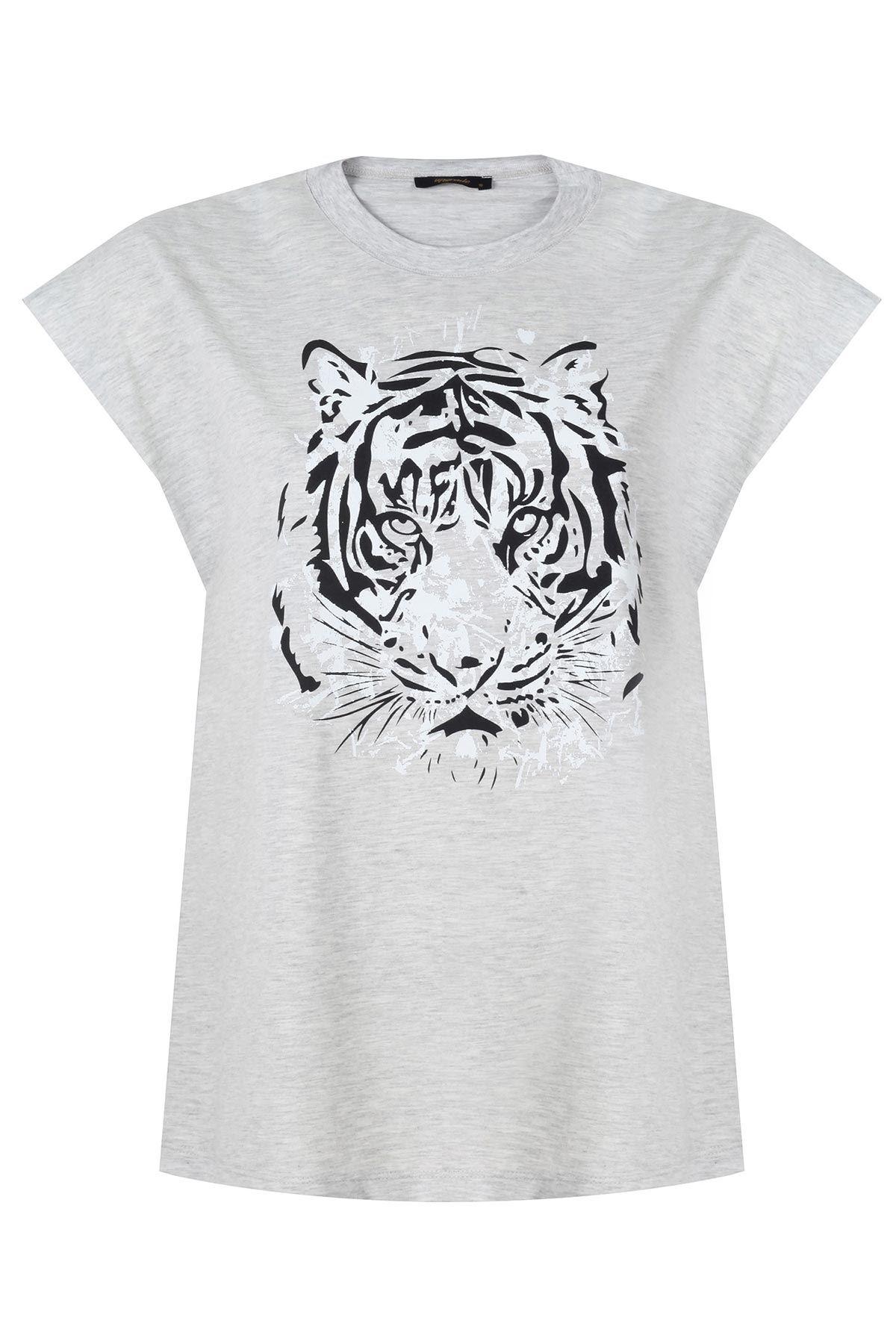 Kaplan desenli t-shirt Gri