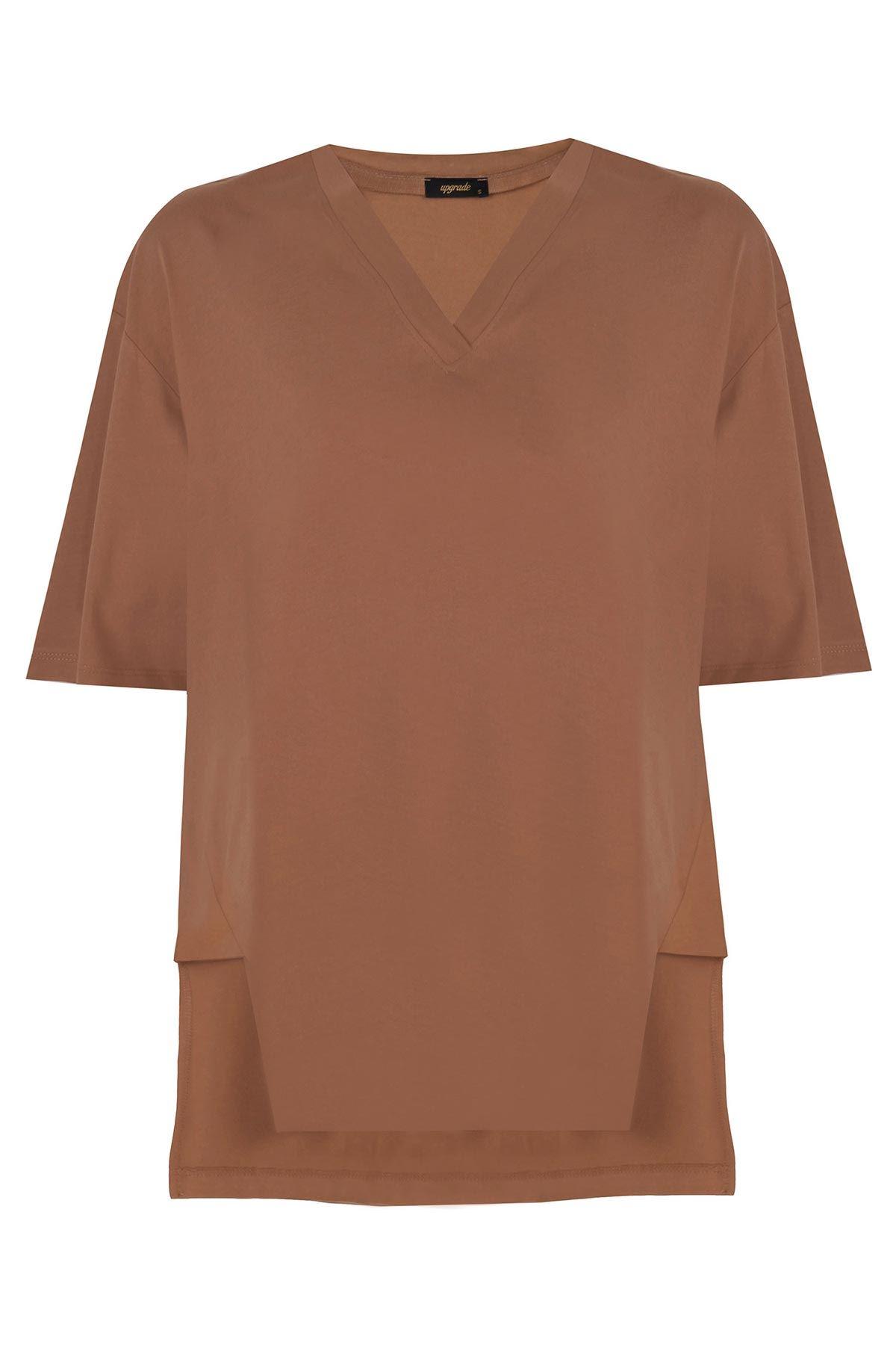 V yaka basic t-shirt Kahverengi