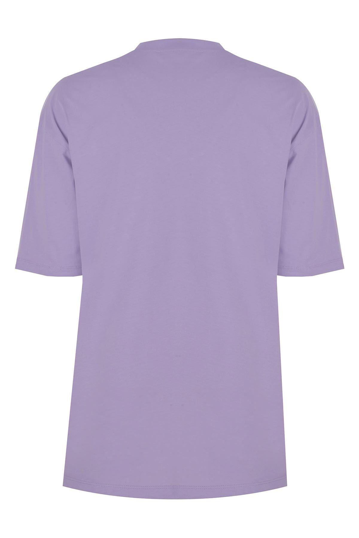 V yaka basic t-shirt Lila