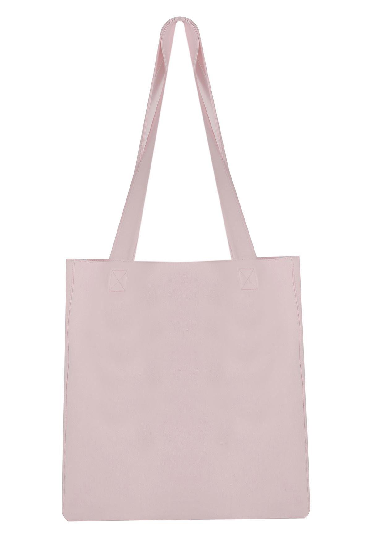 Slogan yazılı çanta Pudra