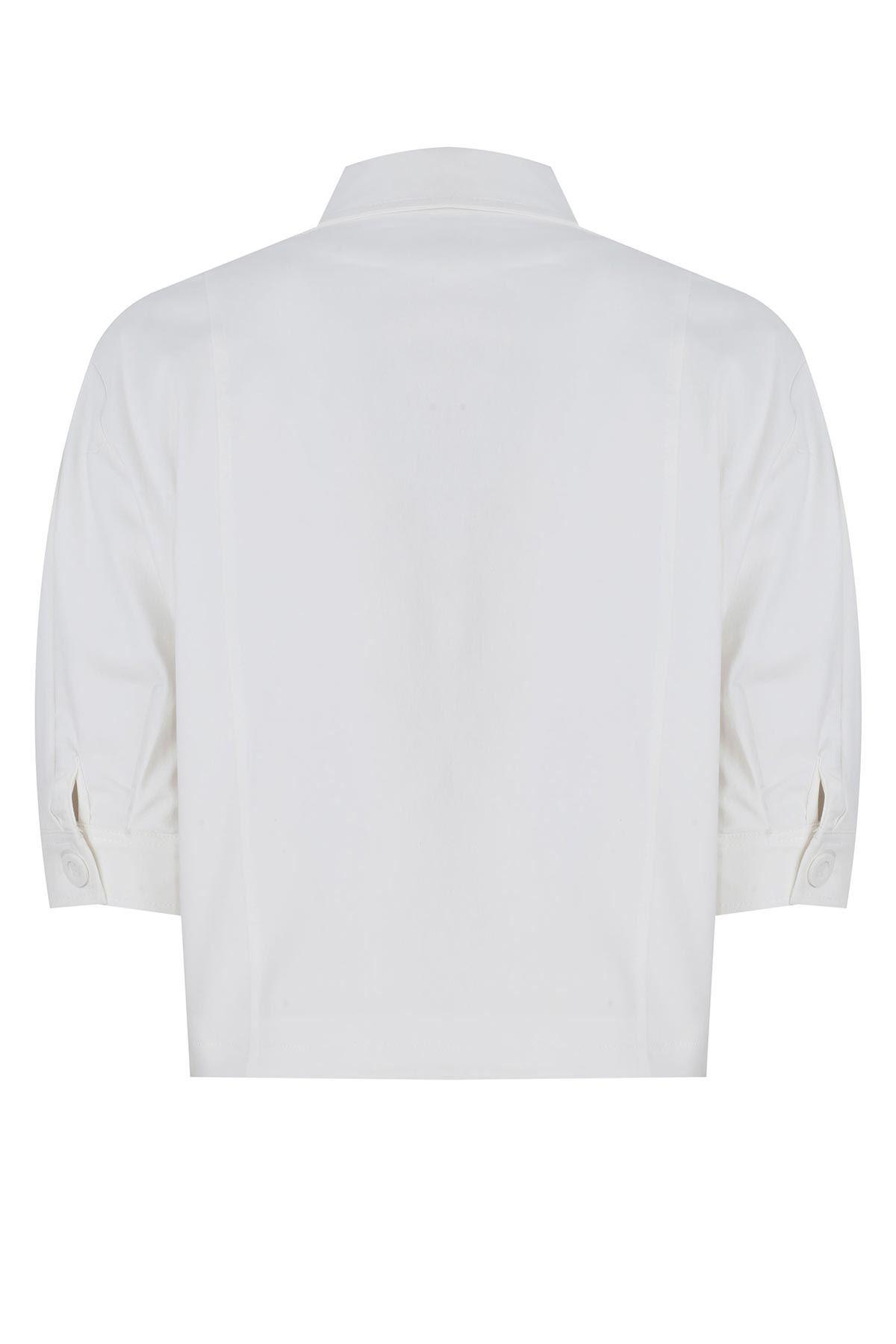 Pileli kollu mini ceket Beyaz