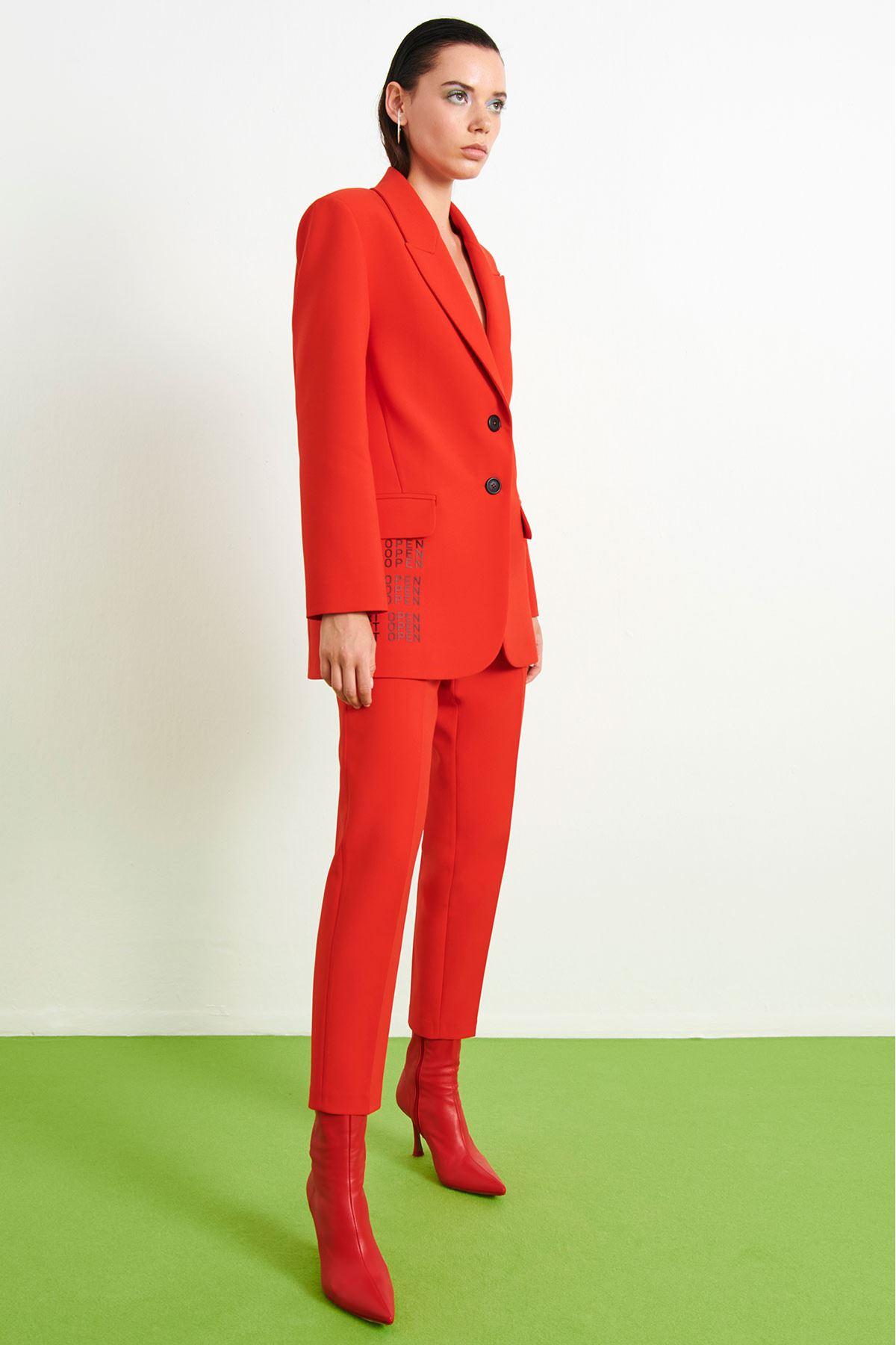 Baskı Yazılı Ceket Kırmızı