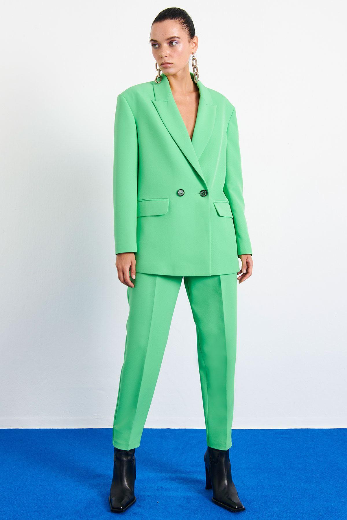 Neon Blazer Ceket Fıstık Yeşili