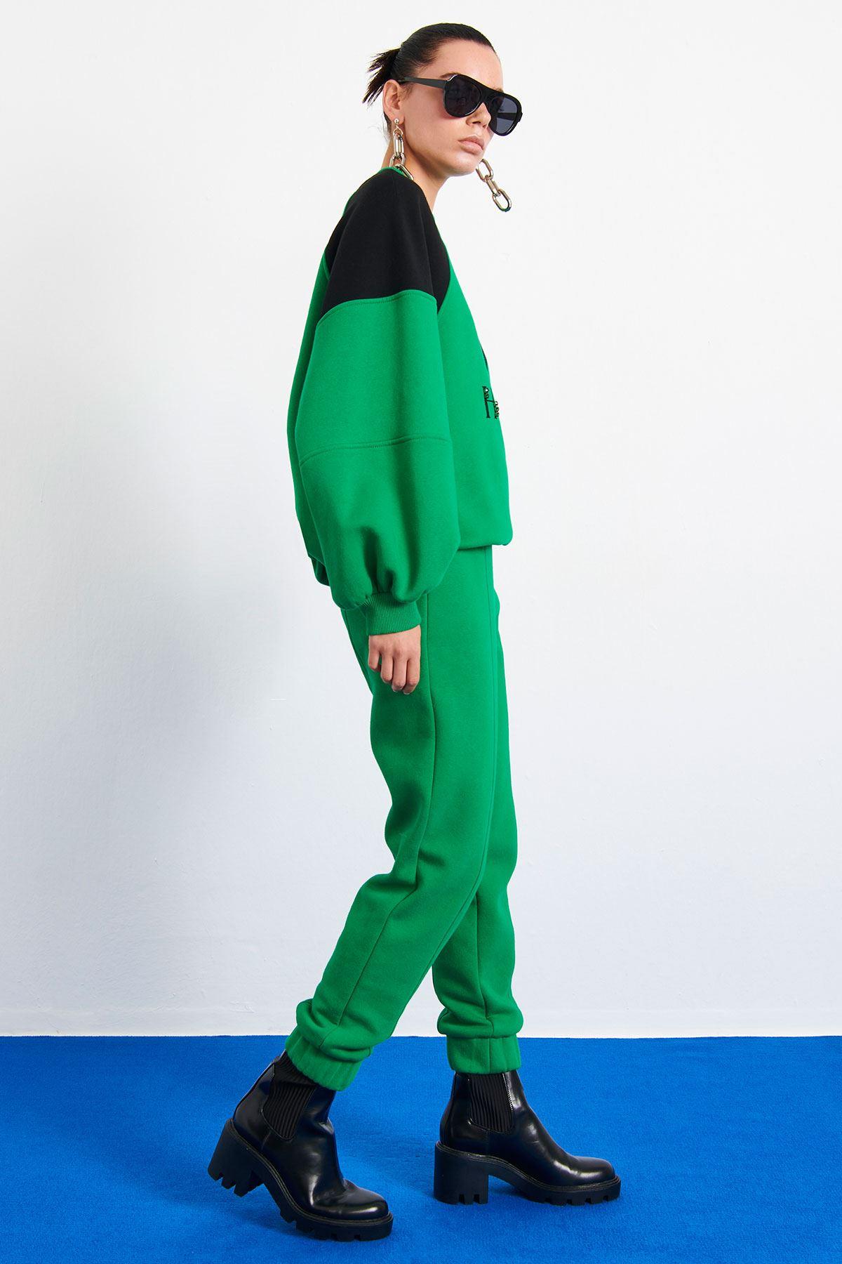 Kalp Baskılı Sweatshirt Yeşil