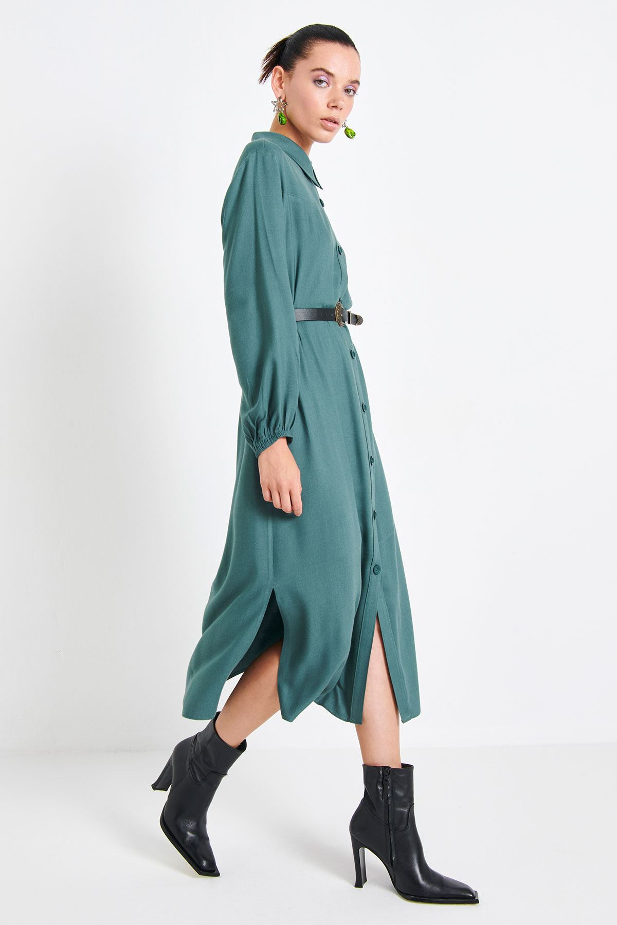 Kemerli Gömlek Elbise Mint