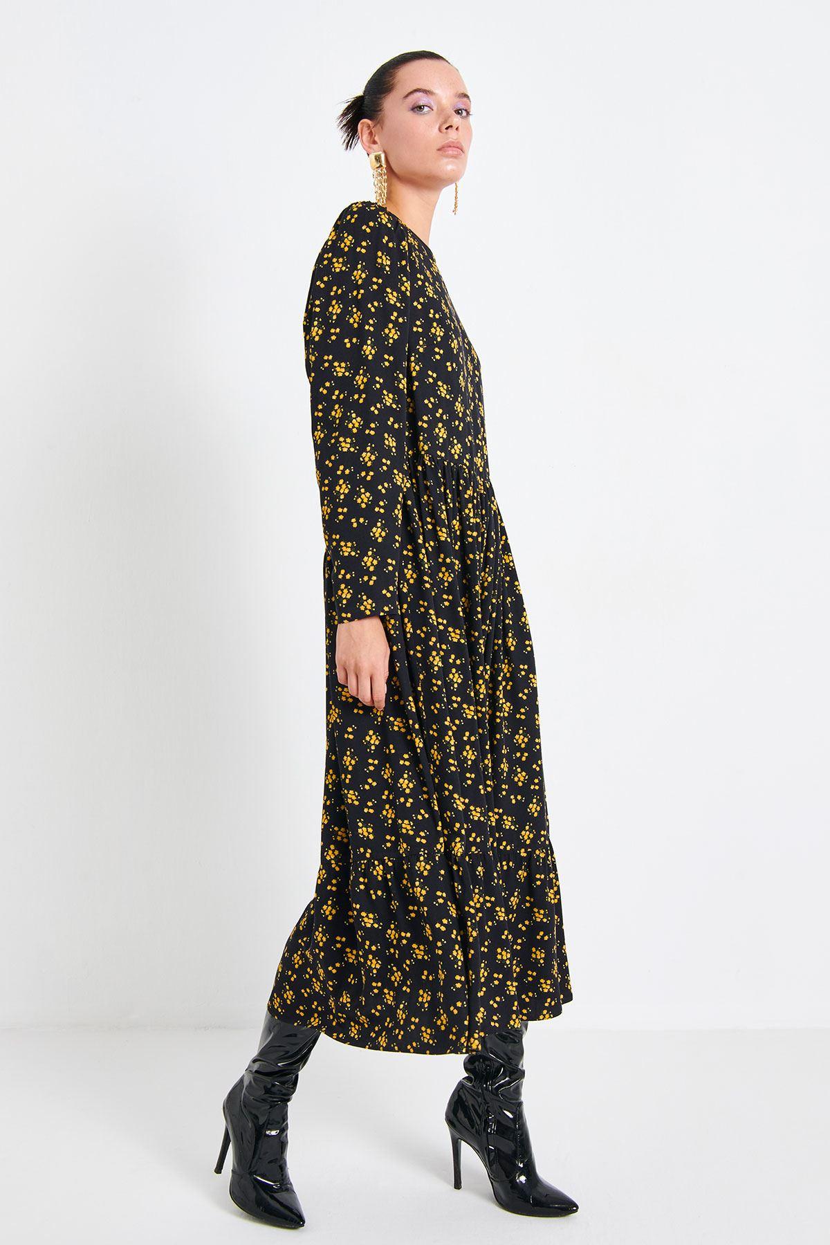 Çiçek Baskılı Elbise Safran