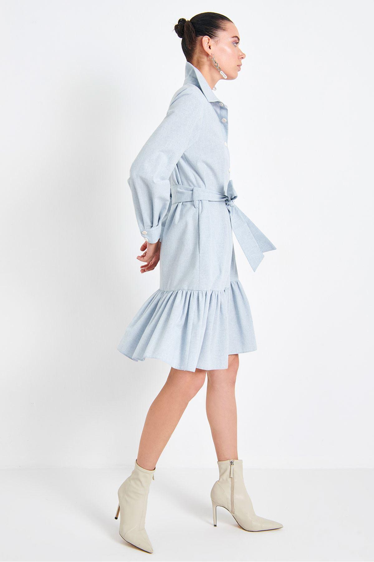 Volanlı Elbise Mavi
