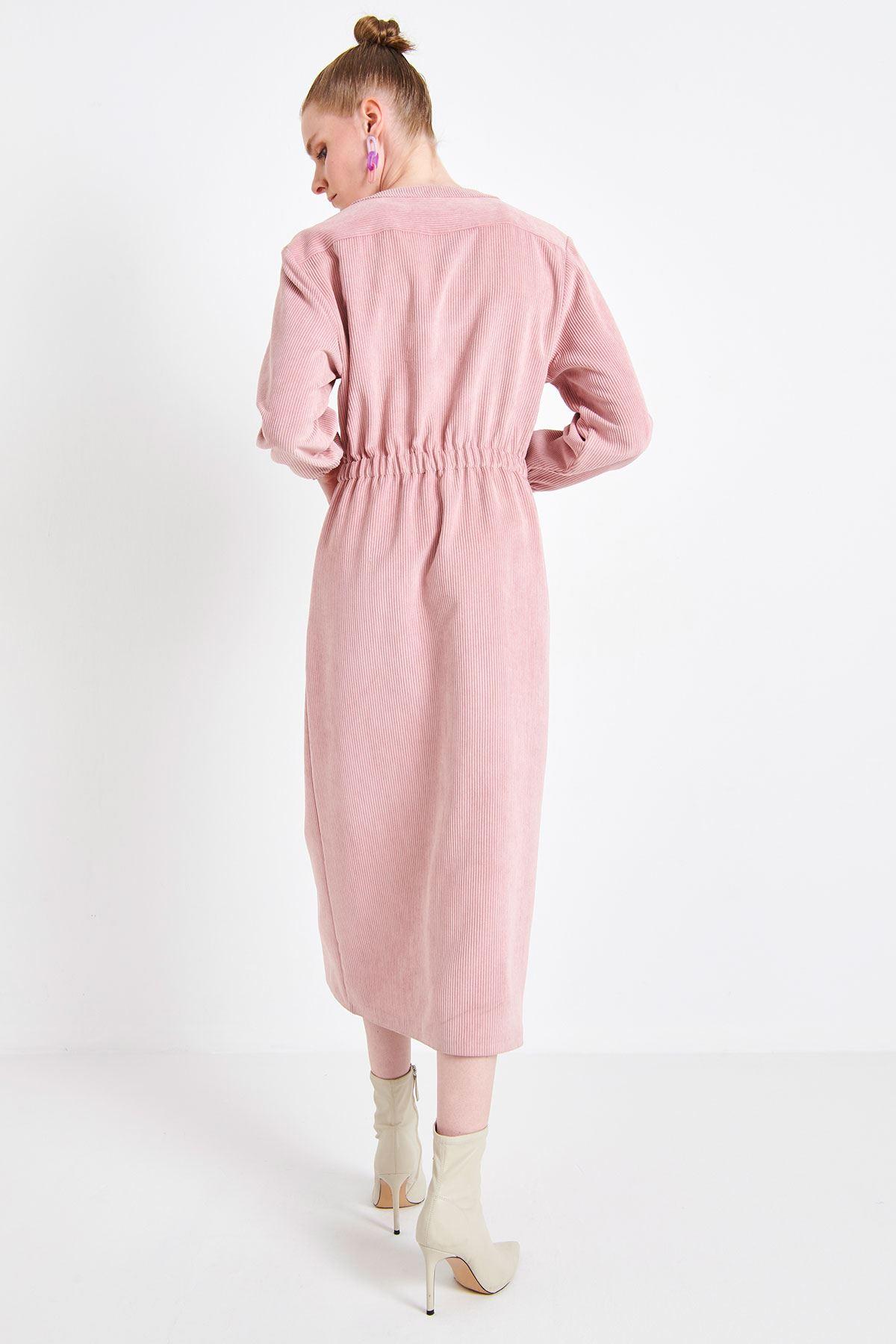 Fitilli Kadife Elbise Pudra