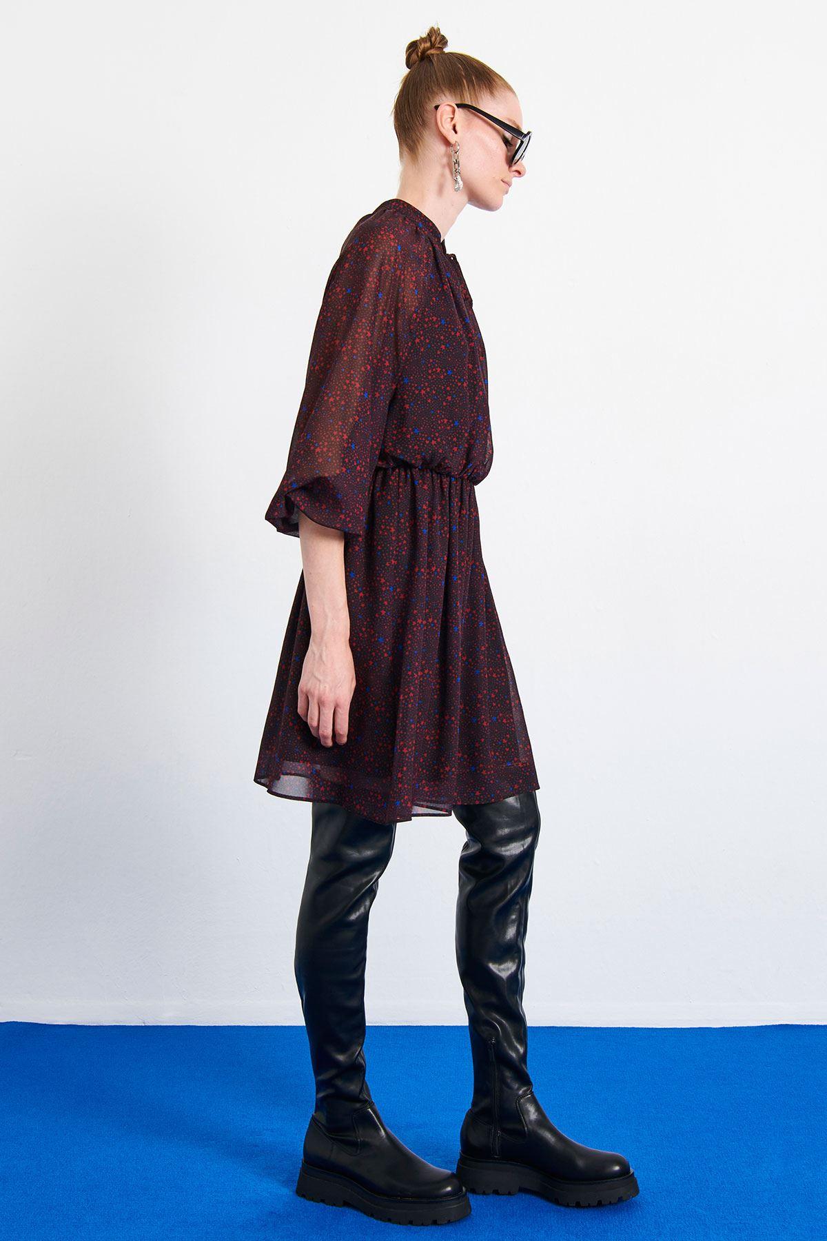 Yıldız Desenli Elbise Bordo