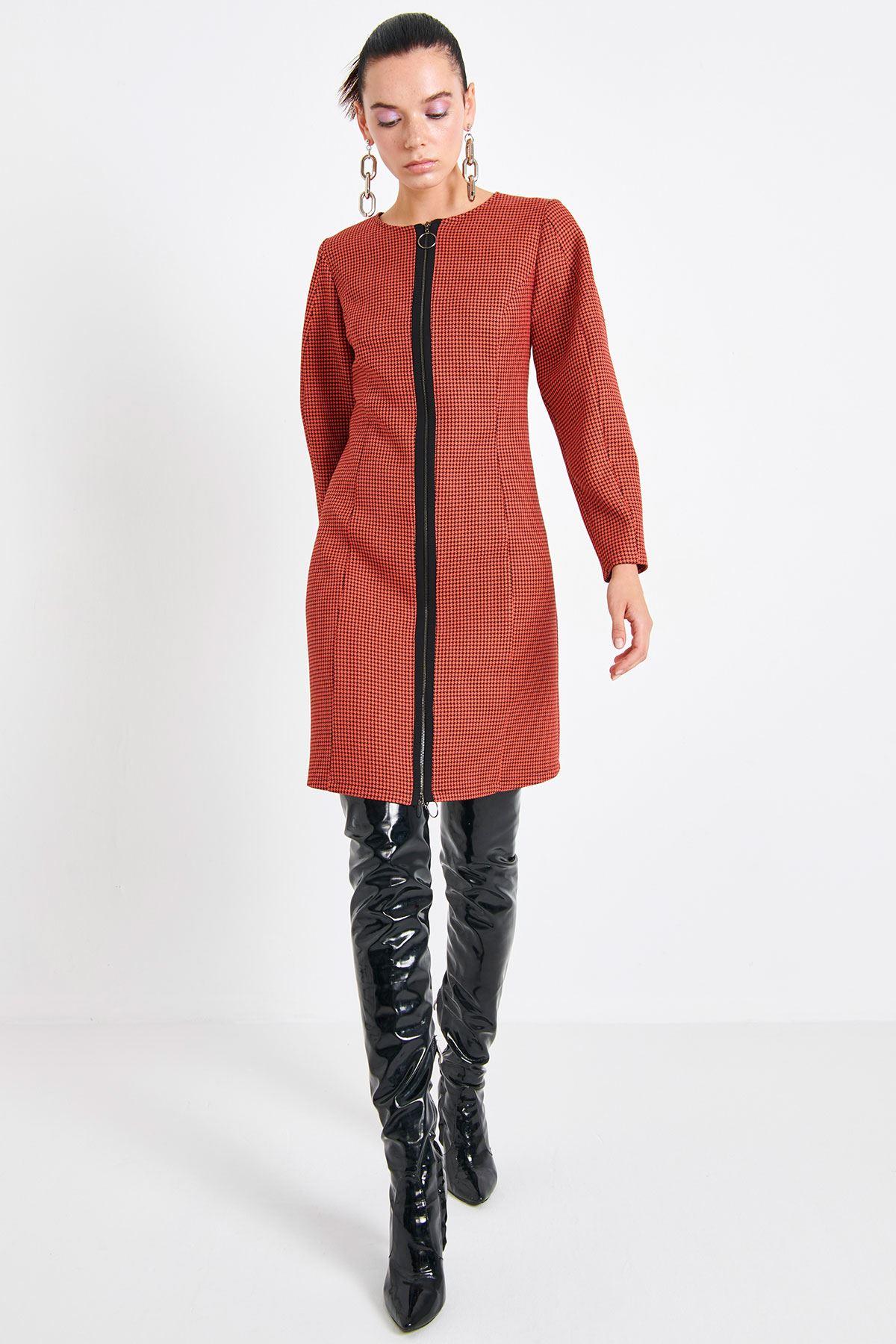 Pötikare Metal Fermuarlı Elbise Mercan