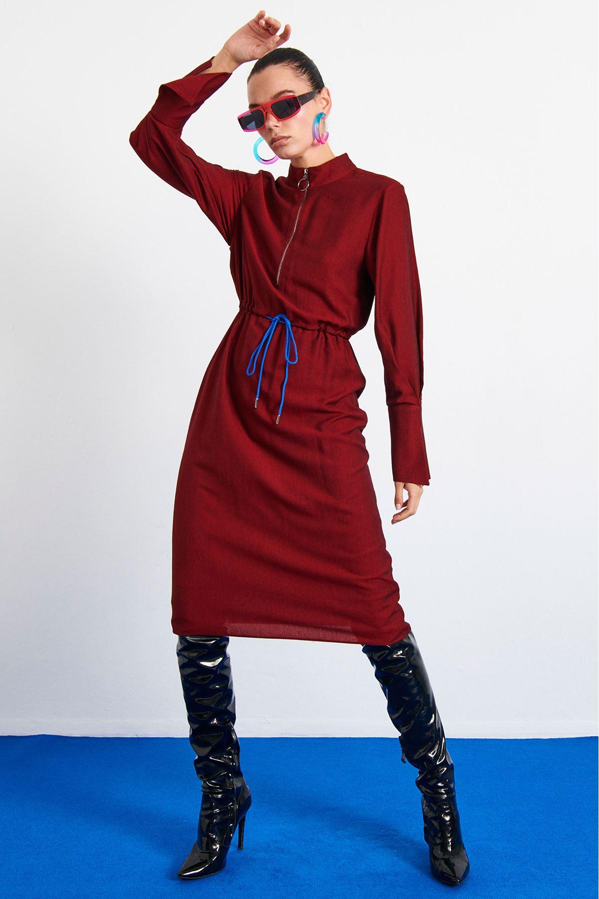 Ön Fermuarlı Elbise Bordo