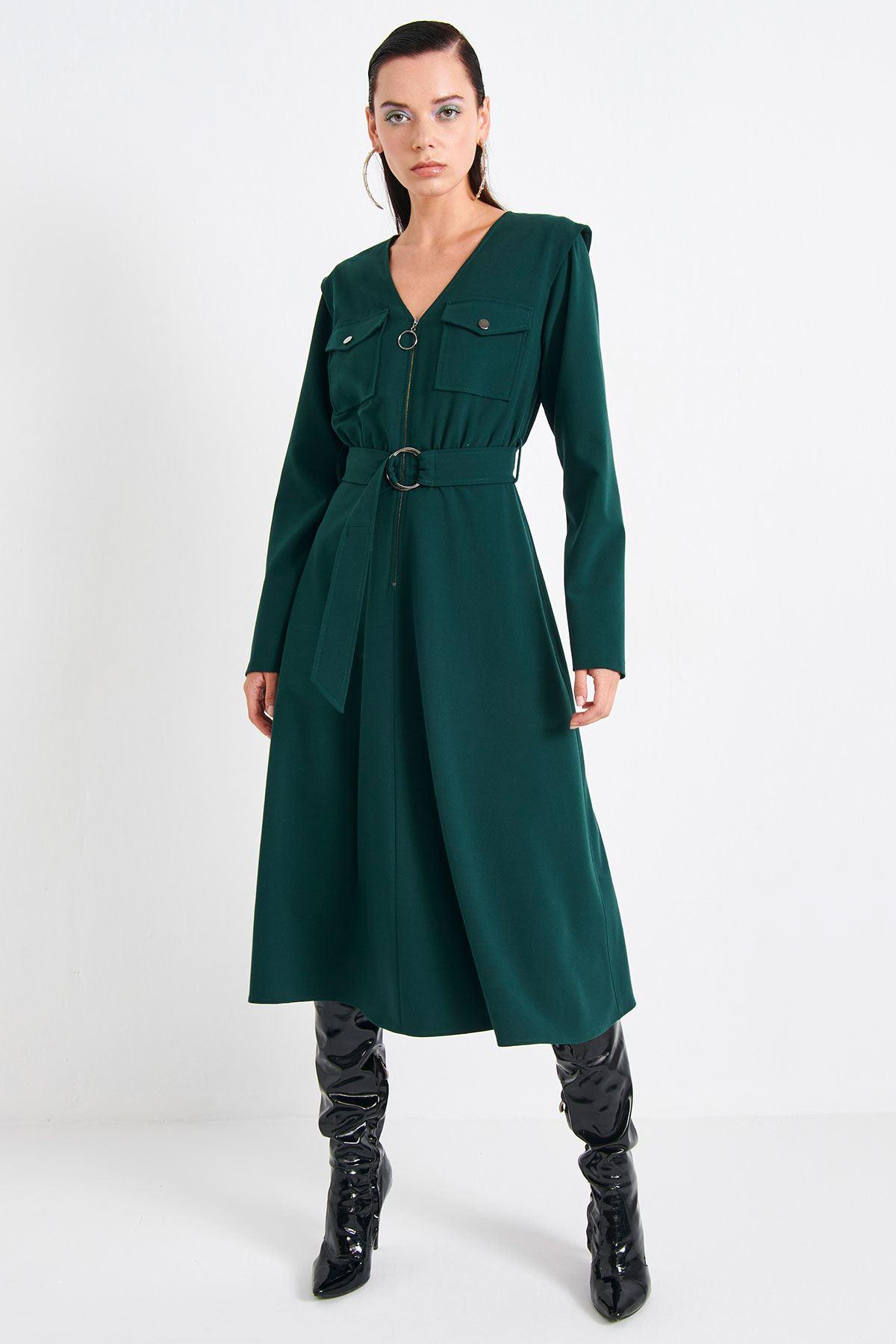 Fermuar Aksesuarlı Elbise Yeşil
