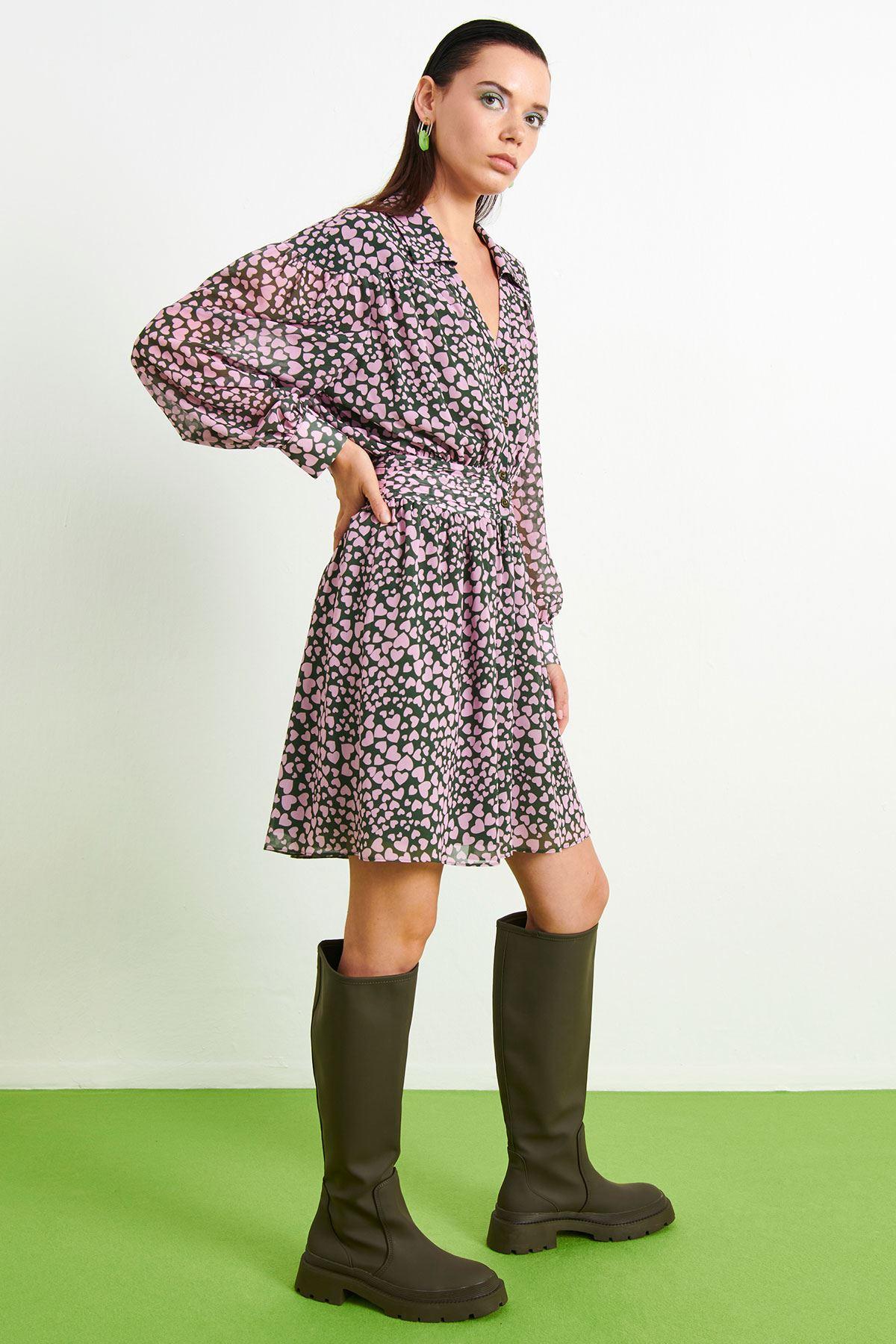 Kalp Baskılı Mini Elbise Haki