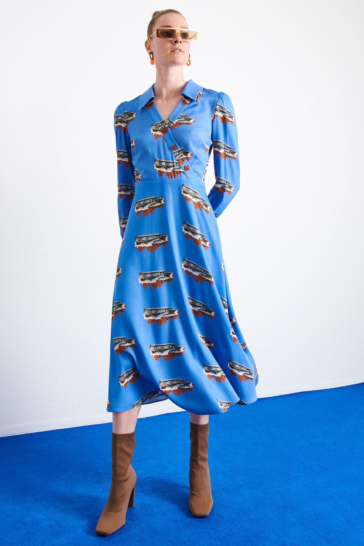 Desen Baskılı Elbise Mavi