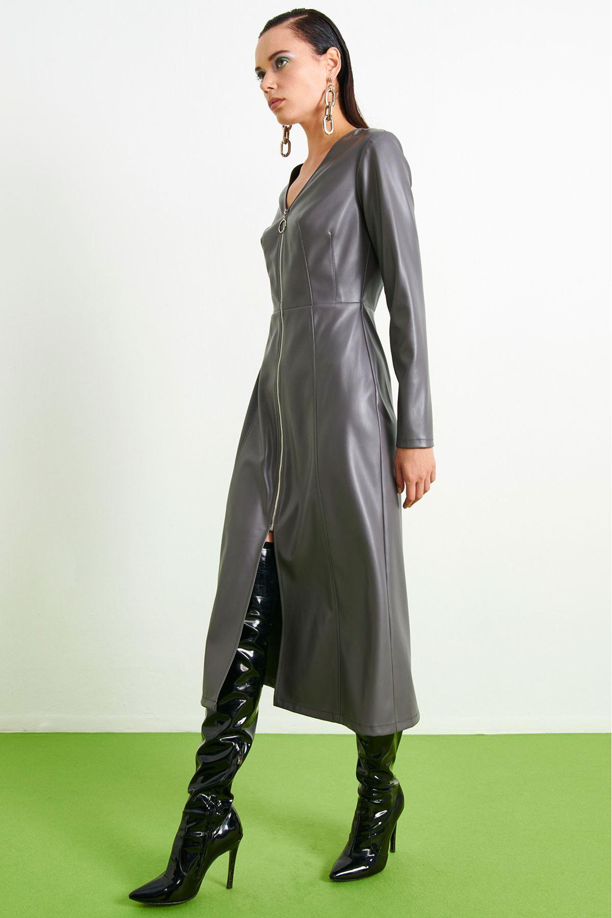 Deri Fermuarlı Elbise Gri