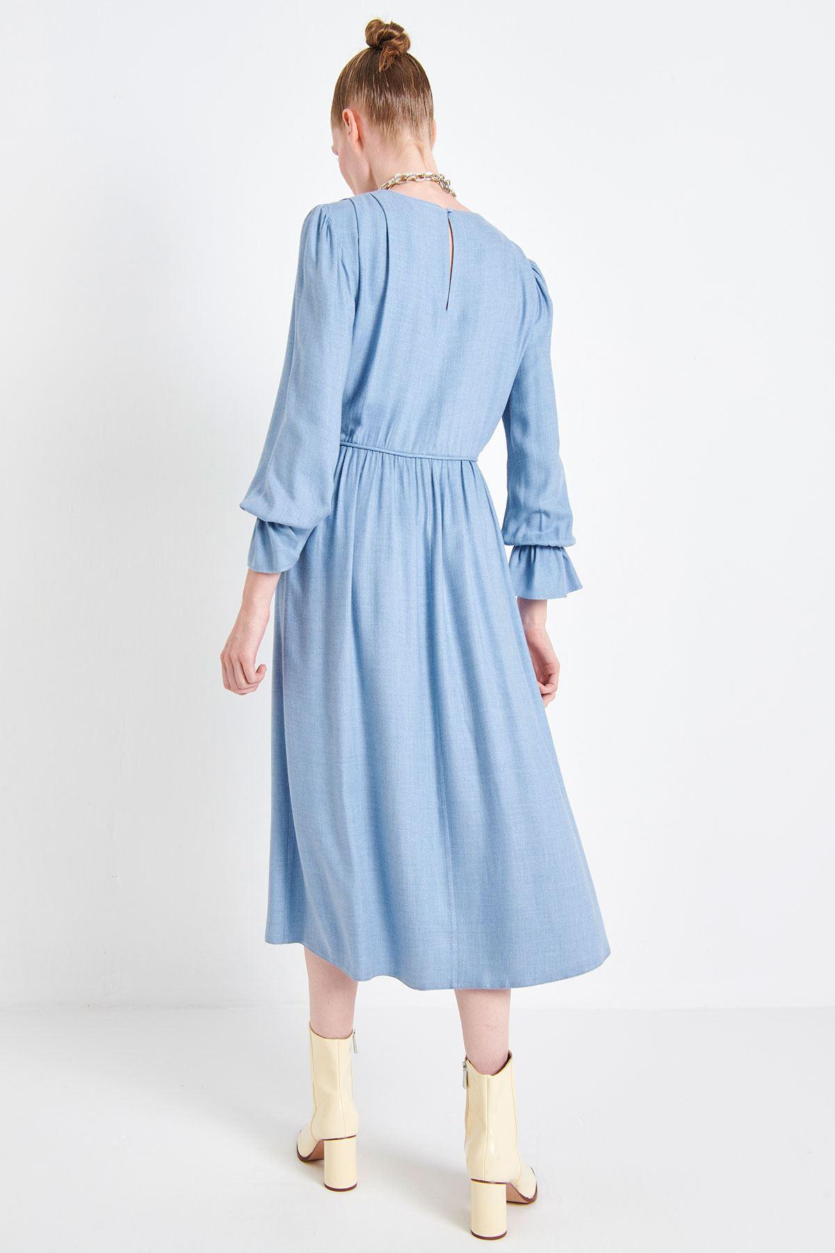 Bel Vurgulu Viskon Elbise Mavi