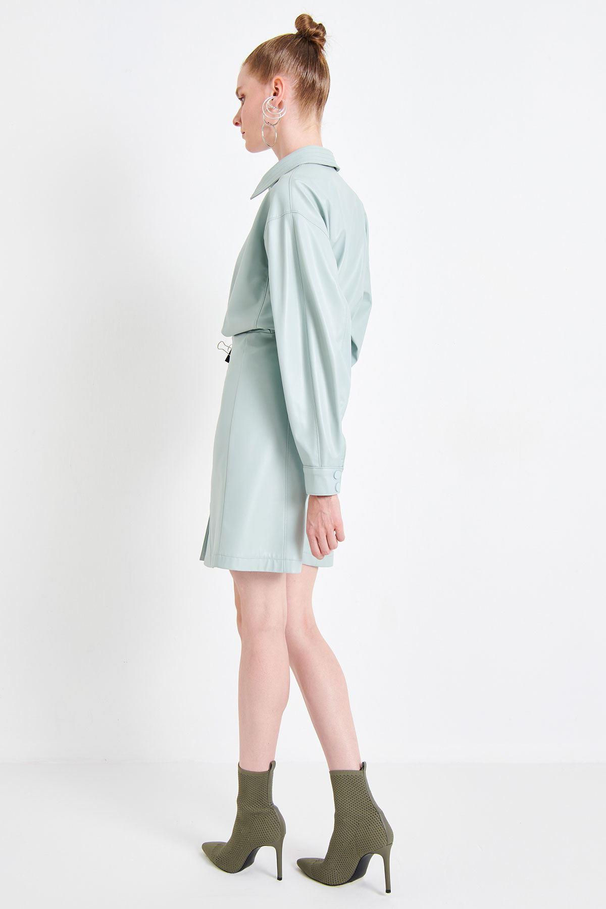 Mini Deri Elbise Mint
