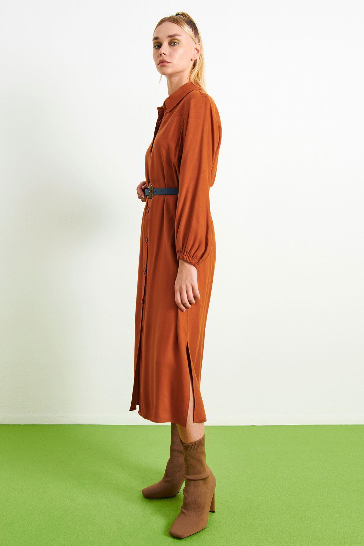 Kemerli Gömlek Elbise Kiremit