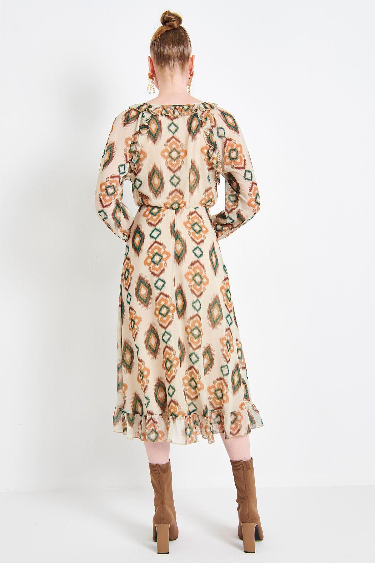 Fırfır Şeritli Elbise Multi