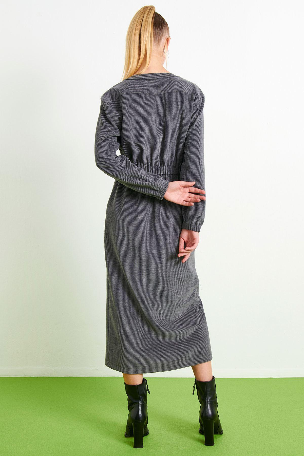 Fitilli Kadife Elbise Gri