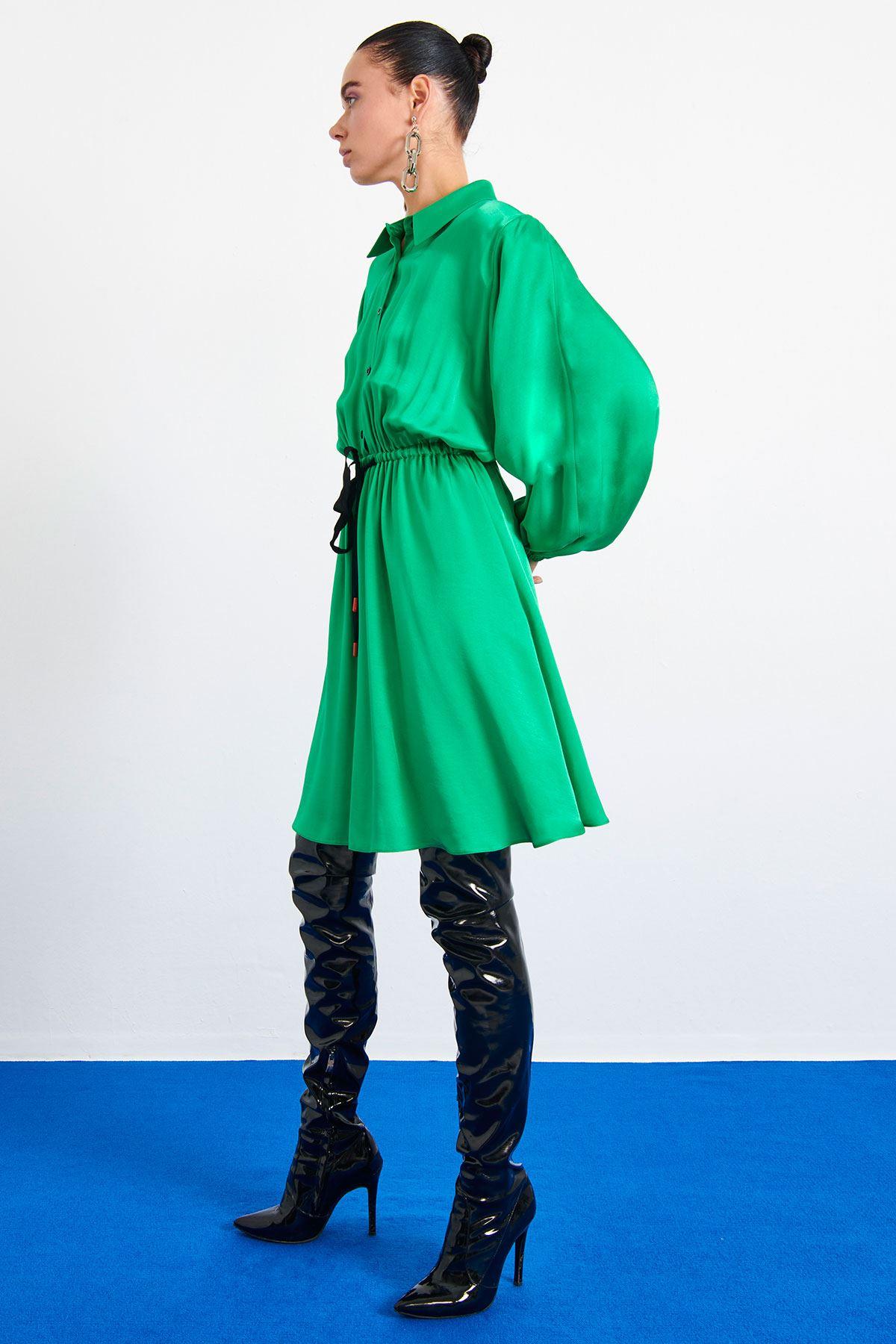 Bel Büzgülü Elbise Yeşil