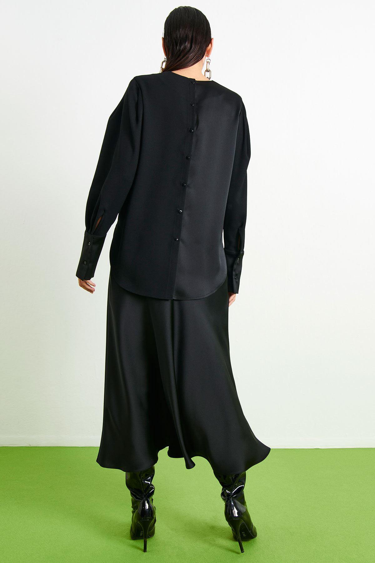 Crep Saten Bluz Siyah