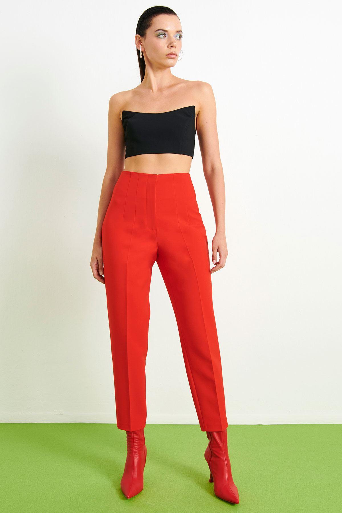 Yüksek Bel Pantolon Kırmızı