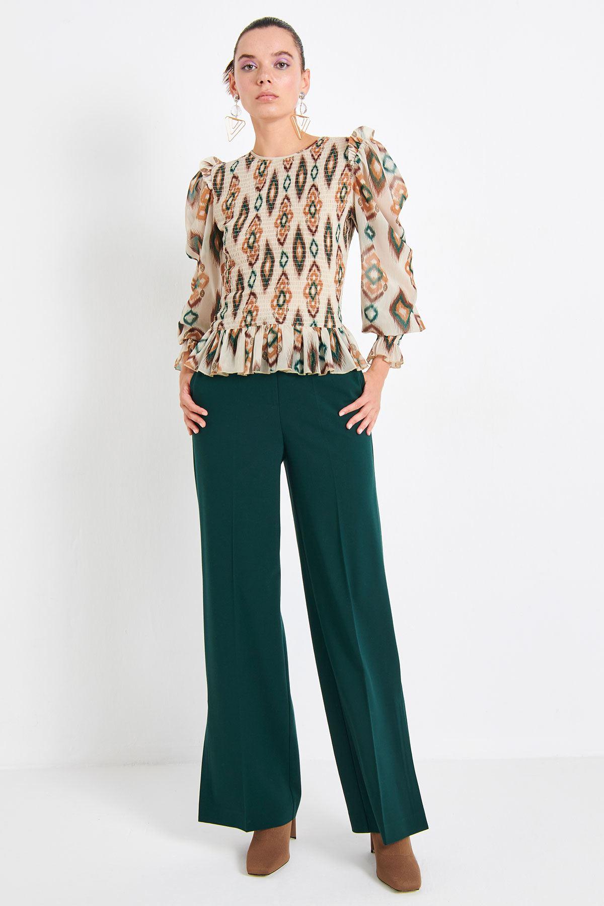 Yüksek Bel Pantolon Yeşil