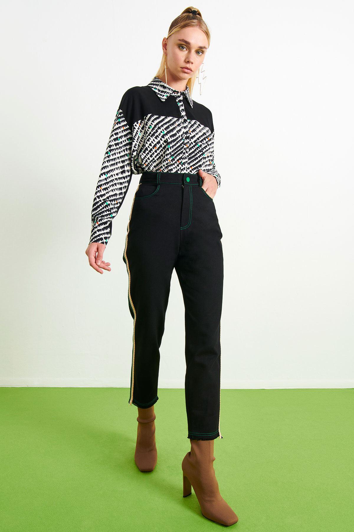Kontrast Dikişli Pantolon Siyah