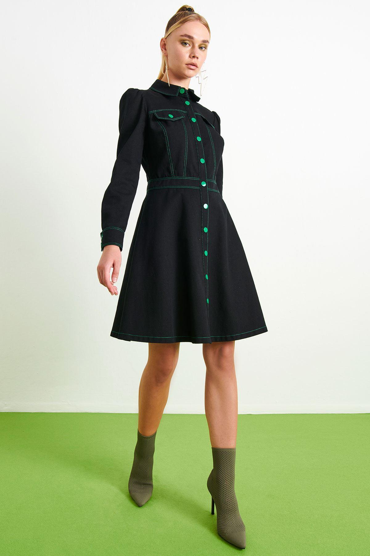 Kontrast Dikişli Elbise Siyah