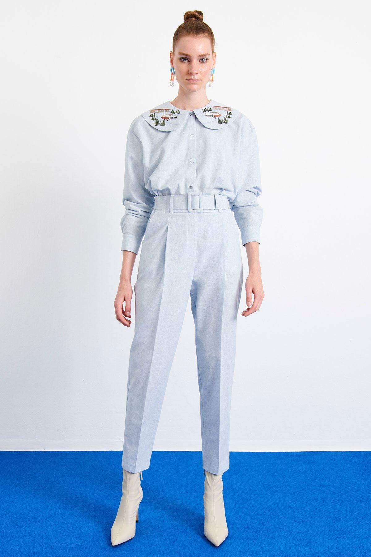 Yüksek Bel Kemerli Pantolon Mavi