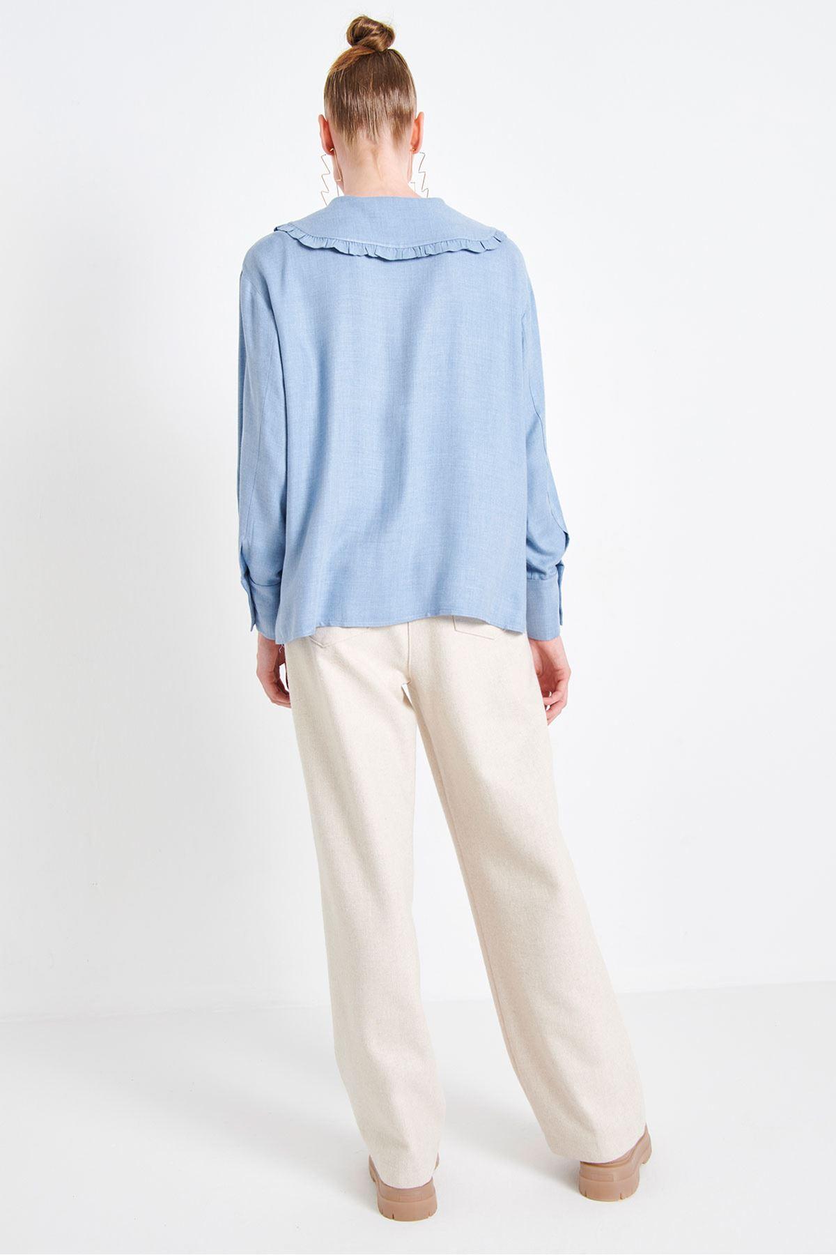 Geniş Yaka Gömlek Mavi