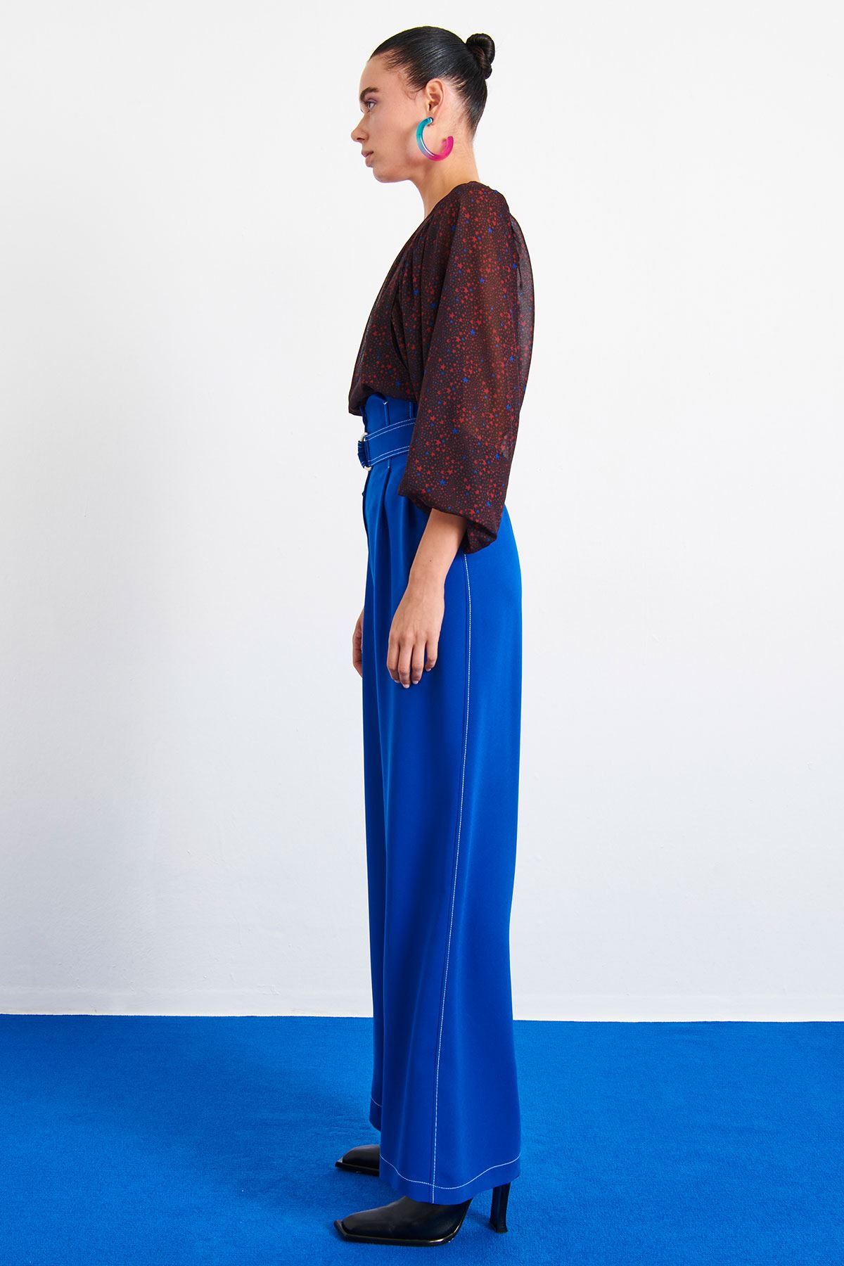 Dikiş Detaylı Bol Pantolon Saks