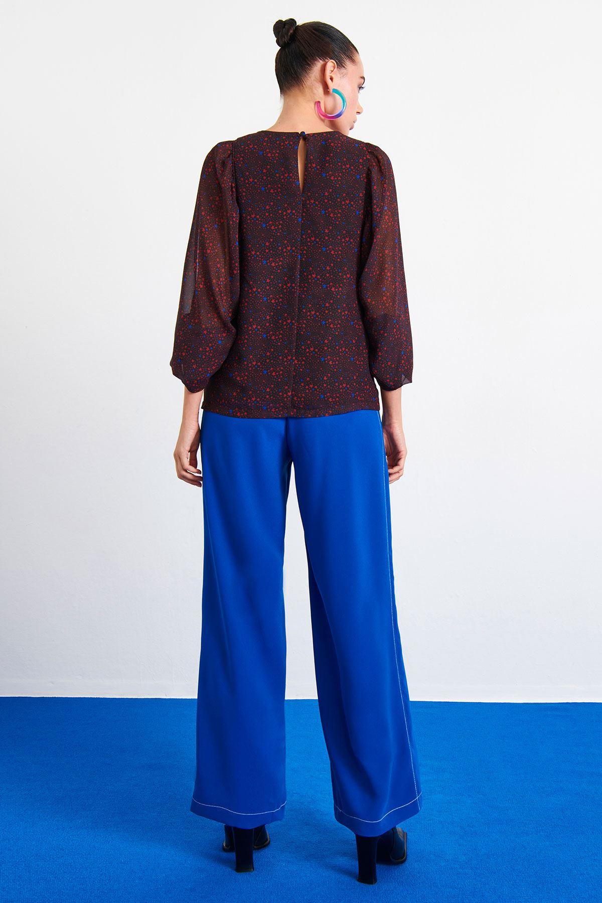 Yıldız Desenli Bluz Bordo