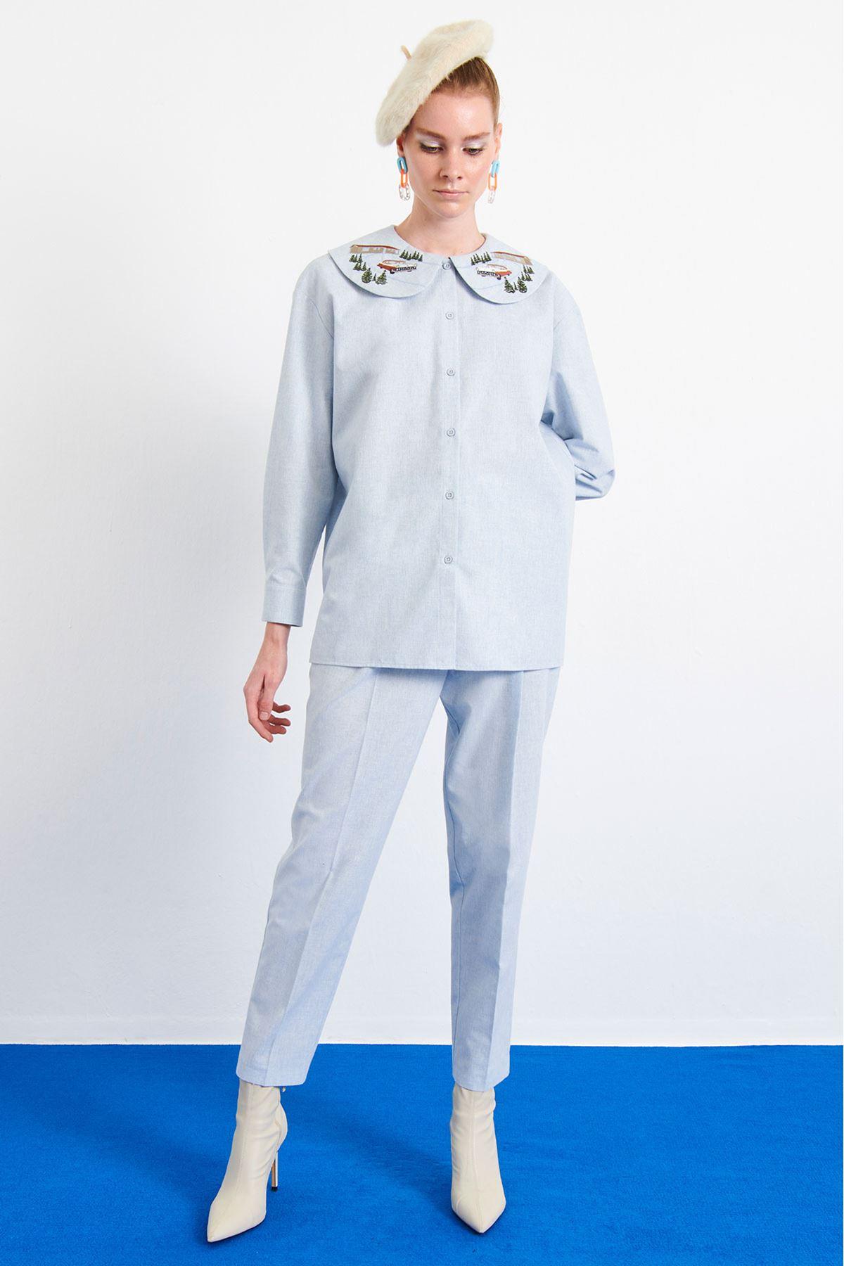 Yaka Nakışlı Gömlek Mavi