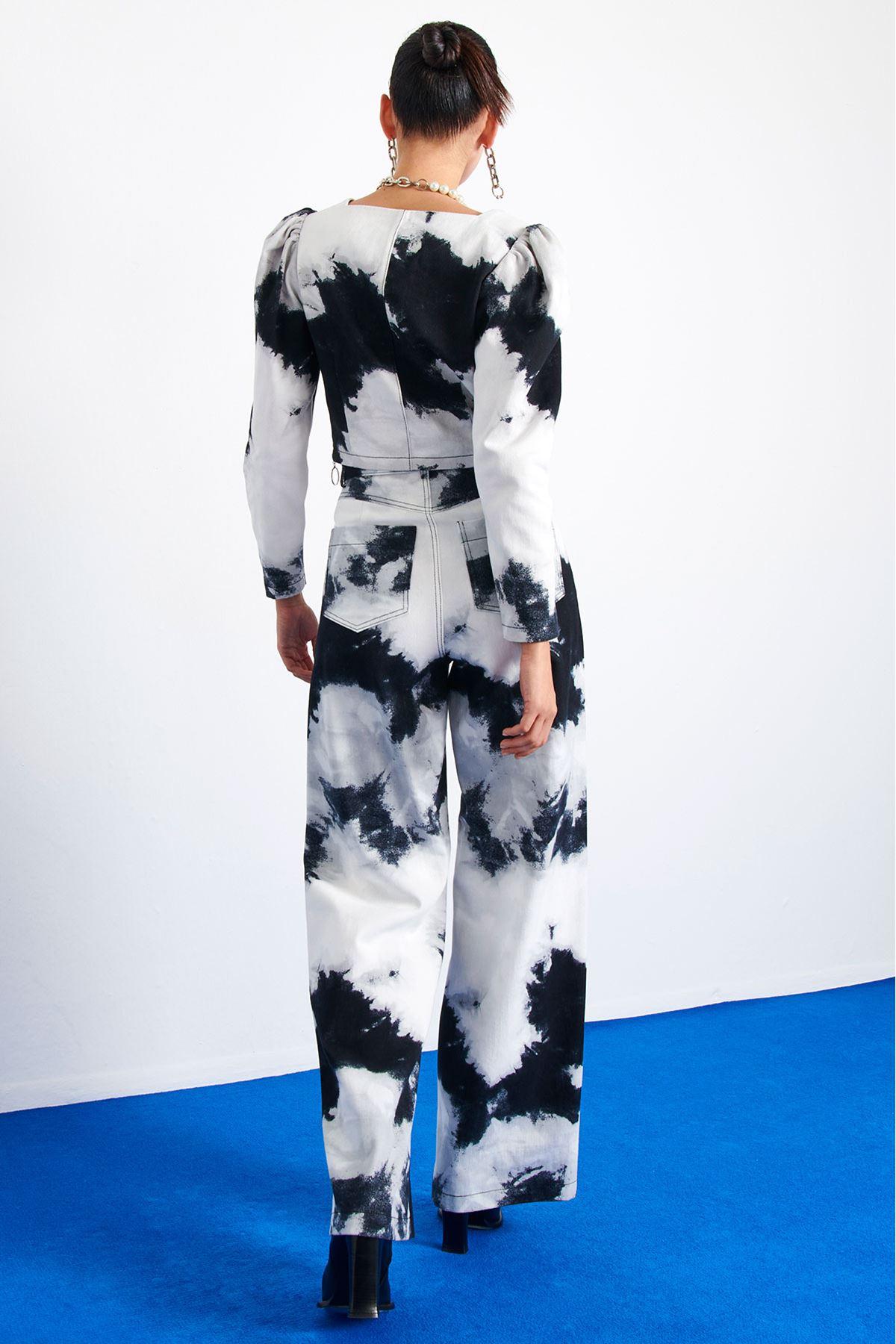 Batik Desenli Wide Leg Pantolon Siyah