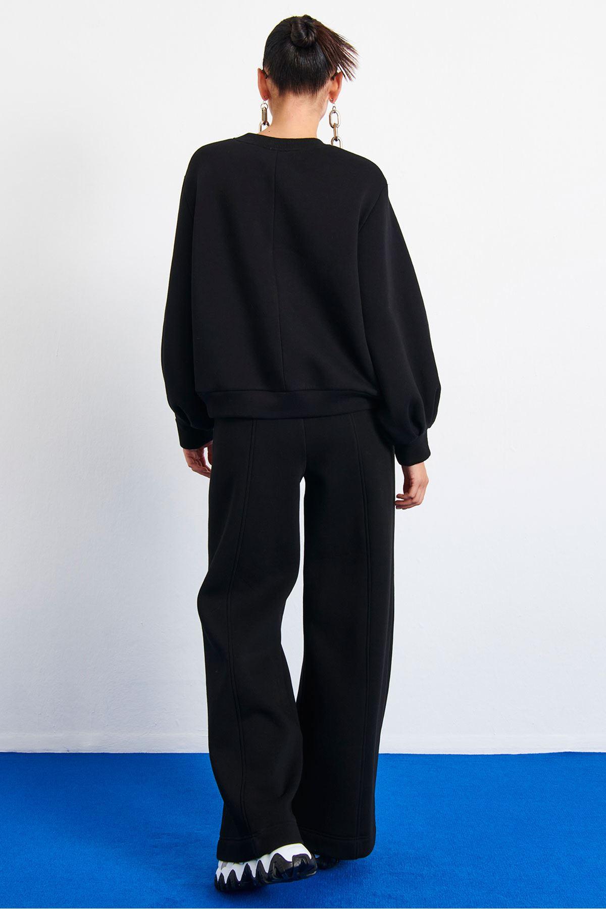 Baskılı Sweatshirt Siyah