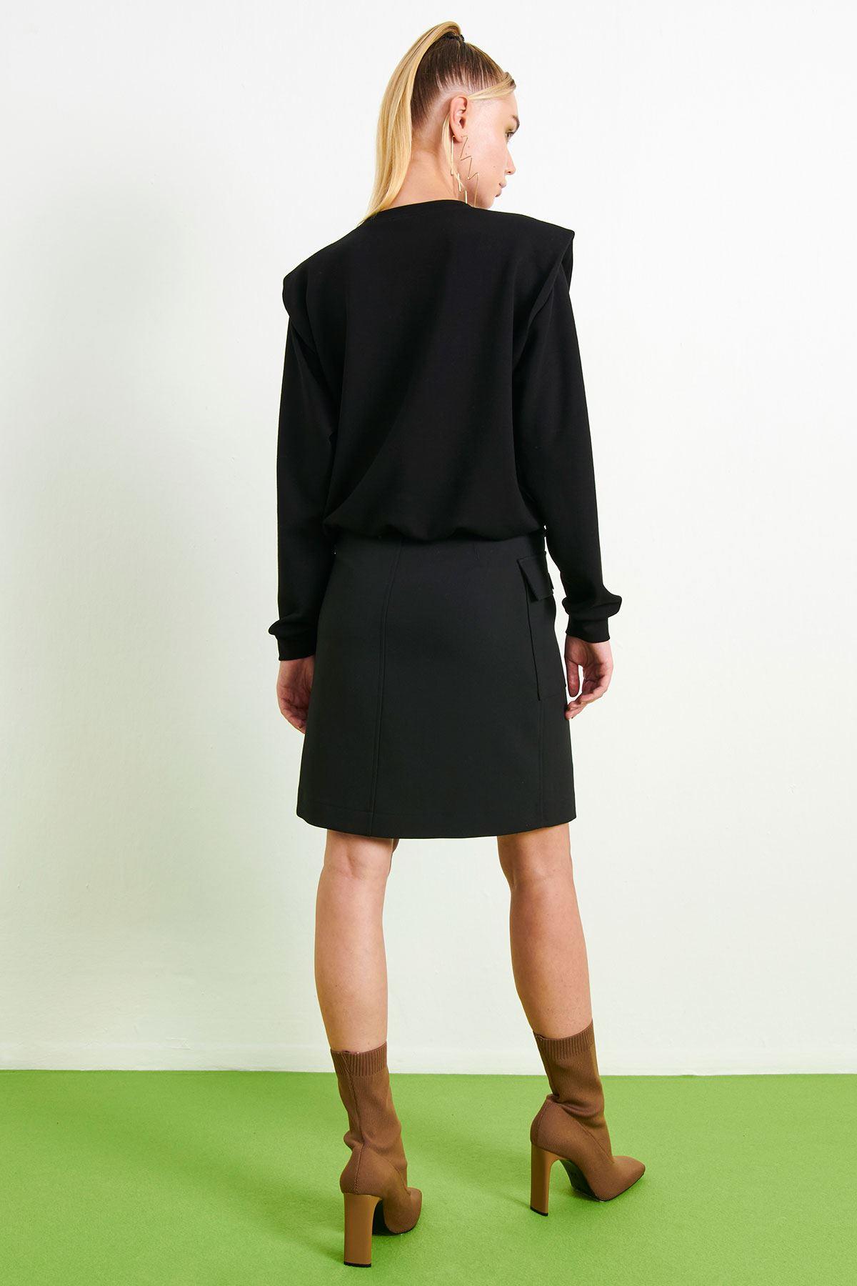 Baskılı Crop Sweatshirt Siyah