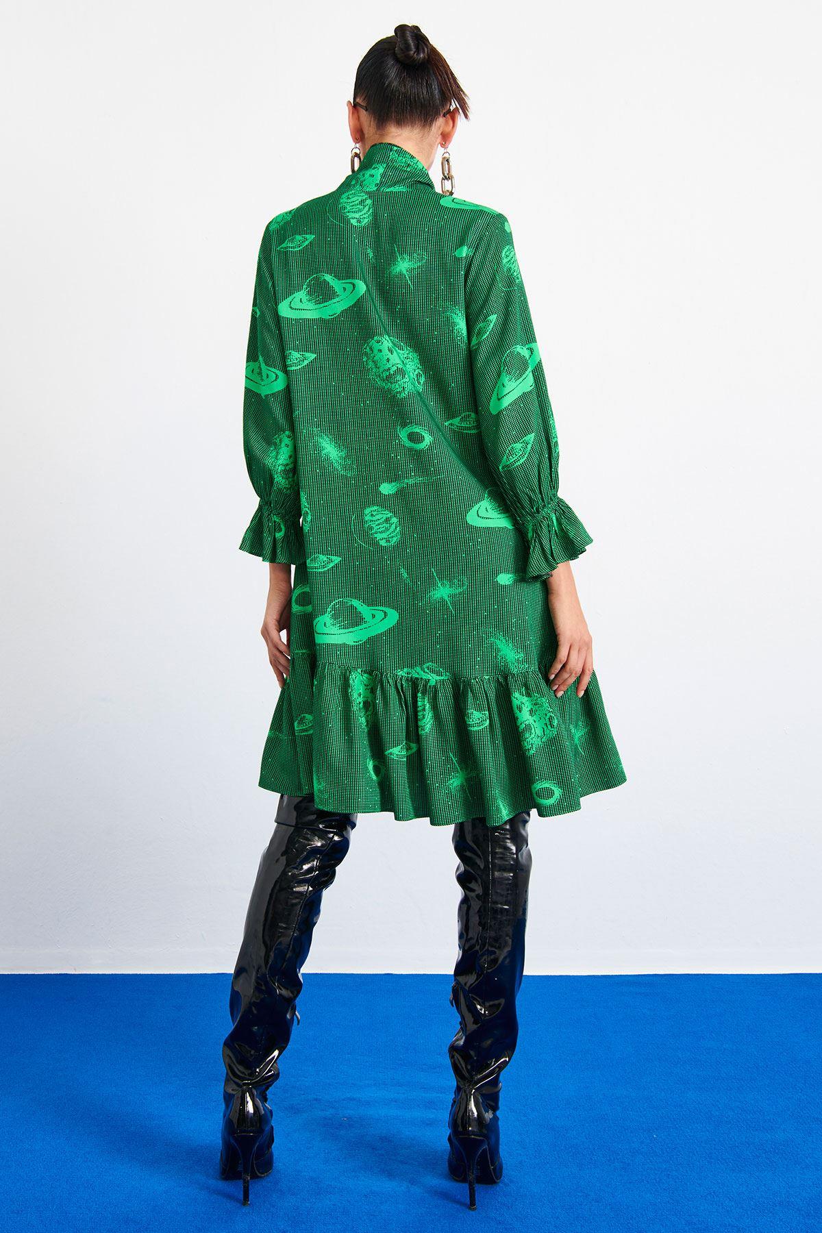 Fular Bağlamalı Elbise Yeşil
